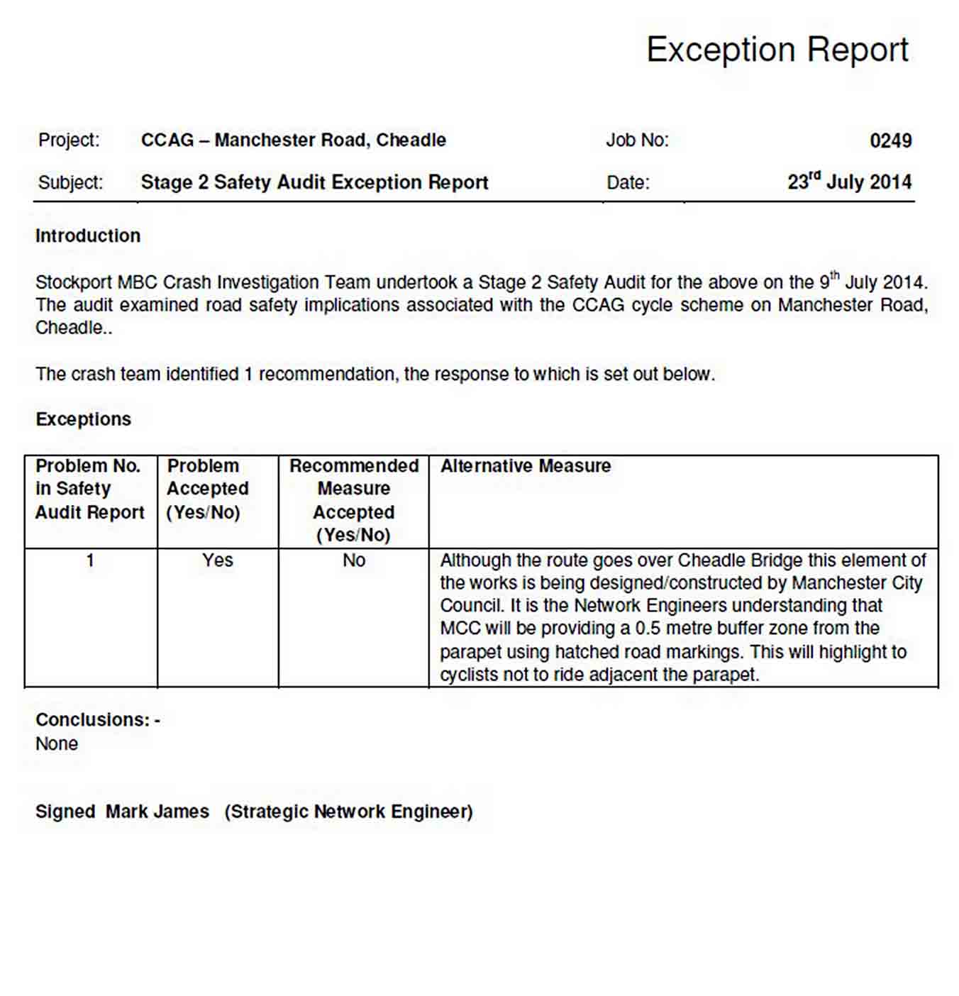 Audit Exception Report Template sample