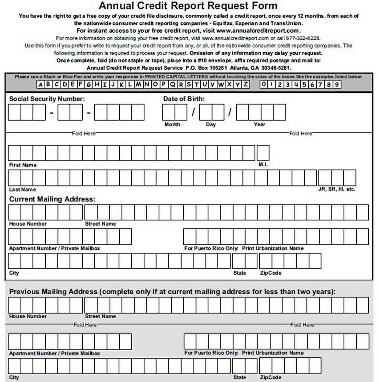 Best Annual Free Credit Report Request Form sample