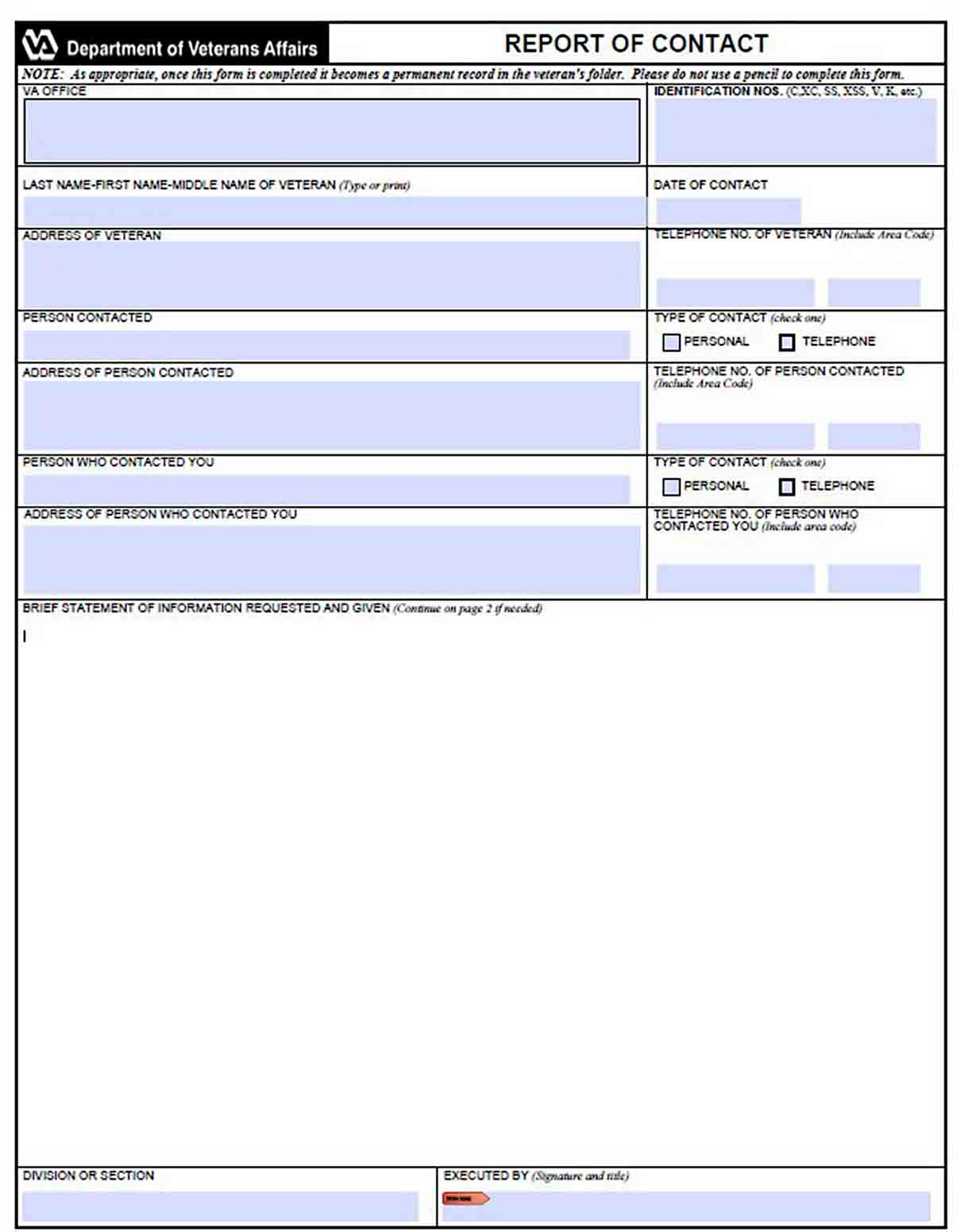 Blank Contact Report Template sample