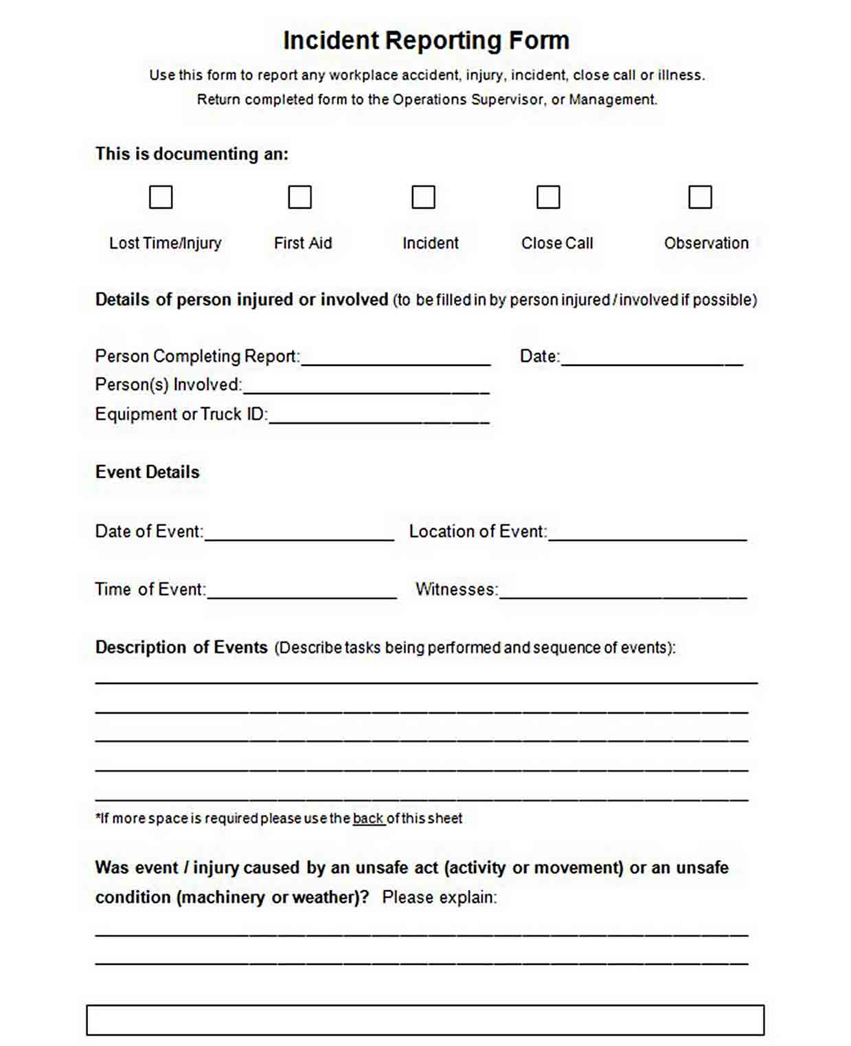 Blank Employee Incident Reporting Form sample