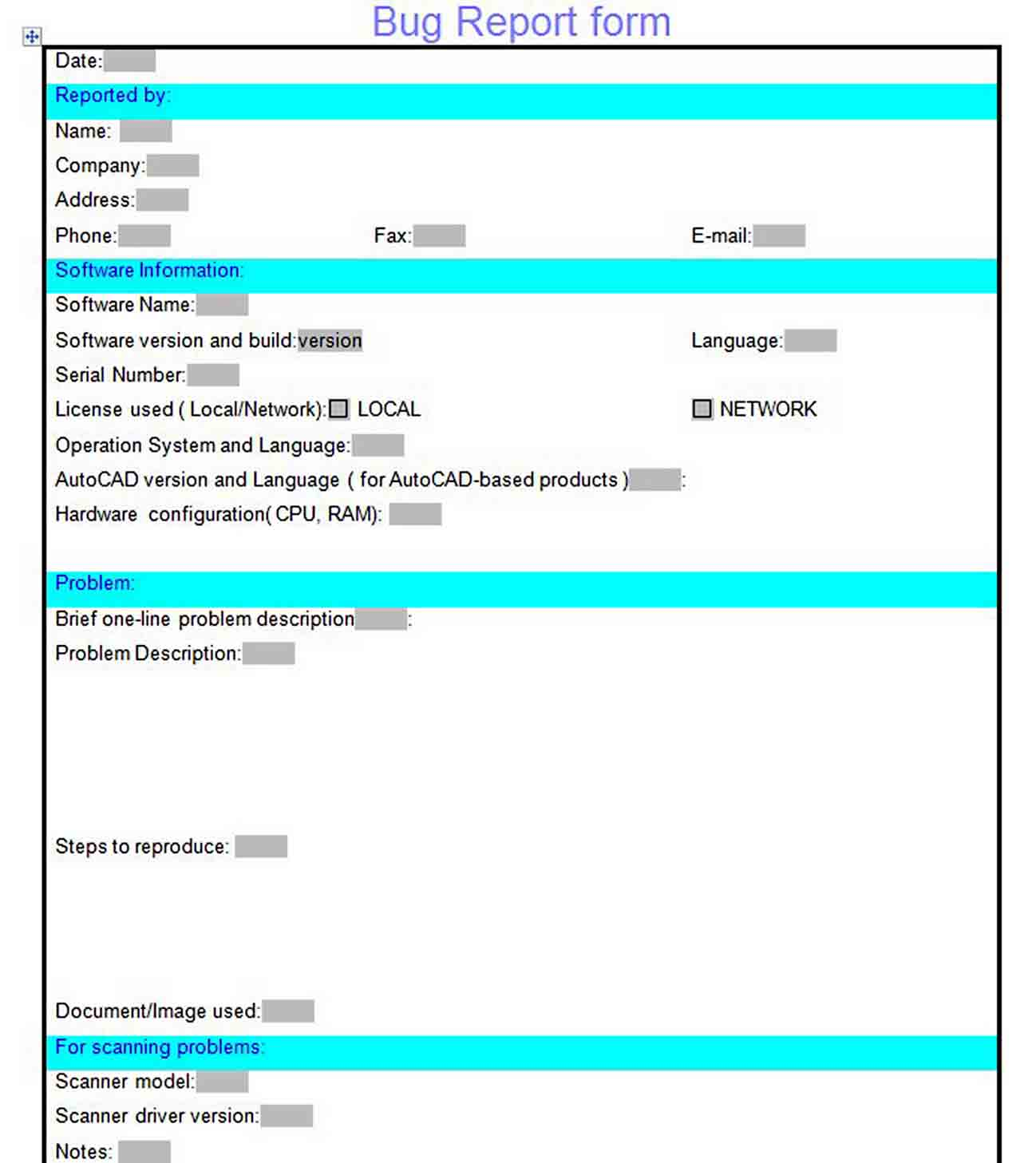 Bug Report Form Template sample