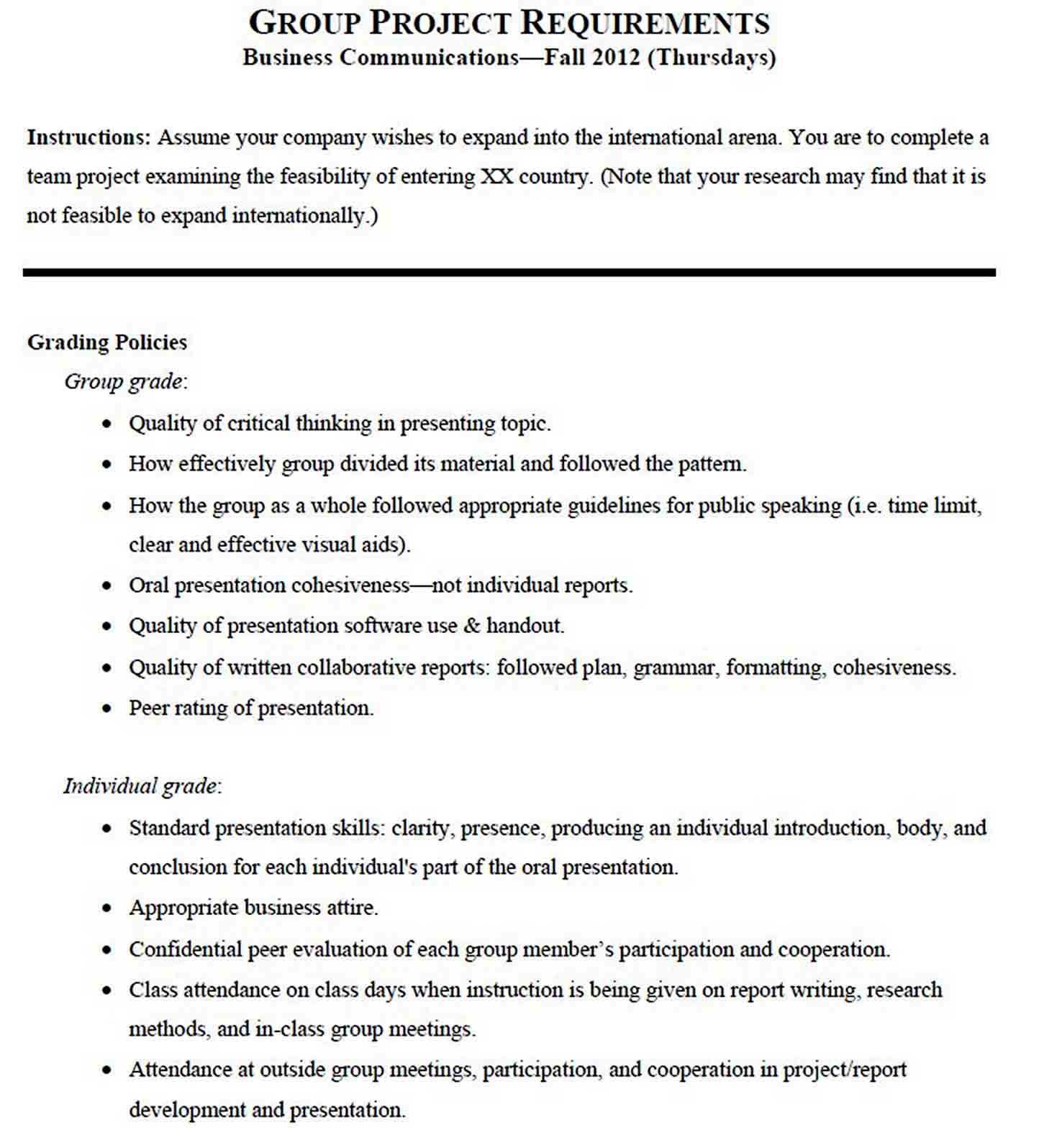 Business Communication Project Report Template sample