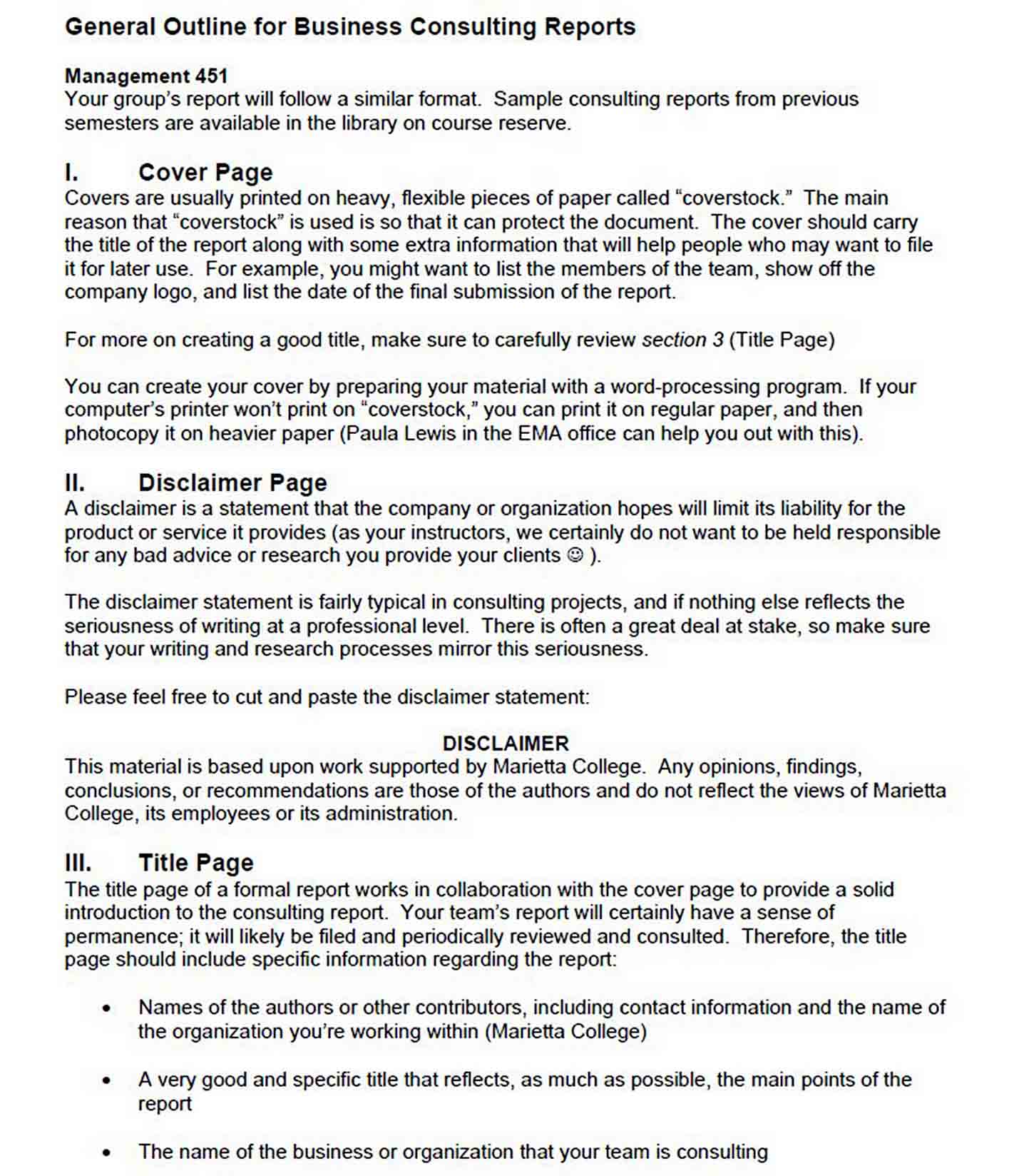 Business Consulting Report Template sample