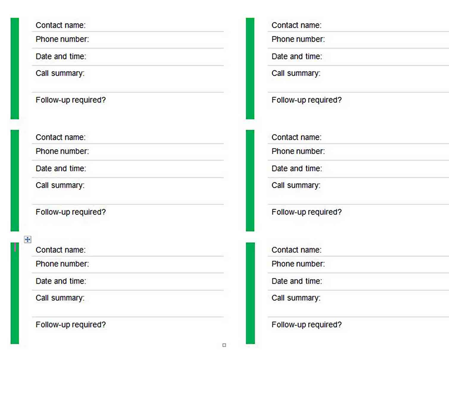 Client Call Log Template sample