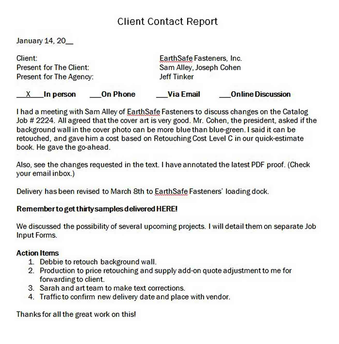 Client Contact Report sample