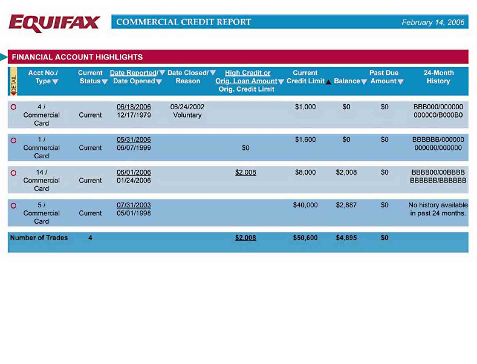 Commercial Credit Report sample