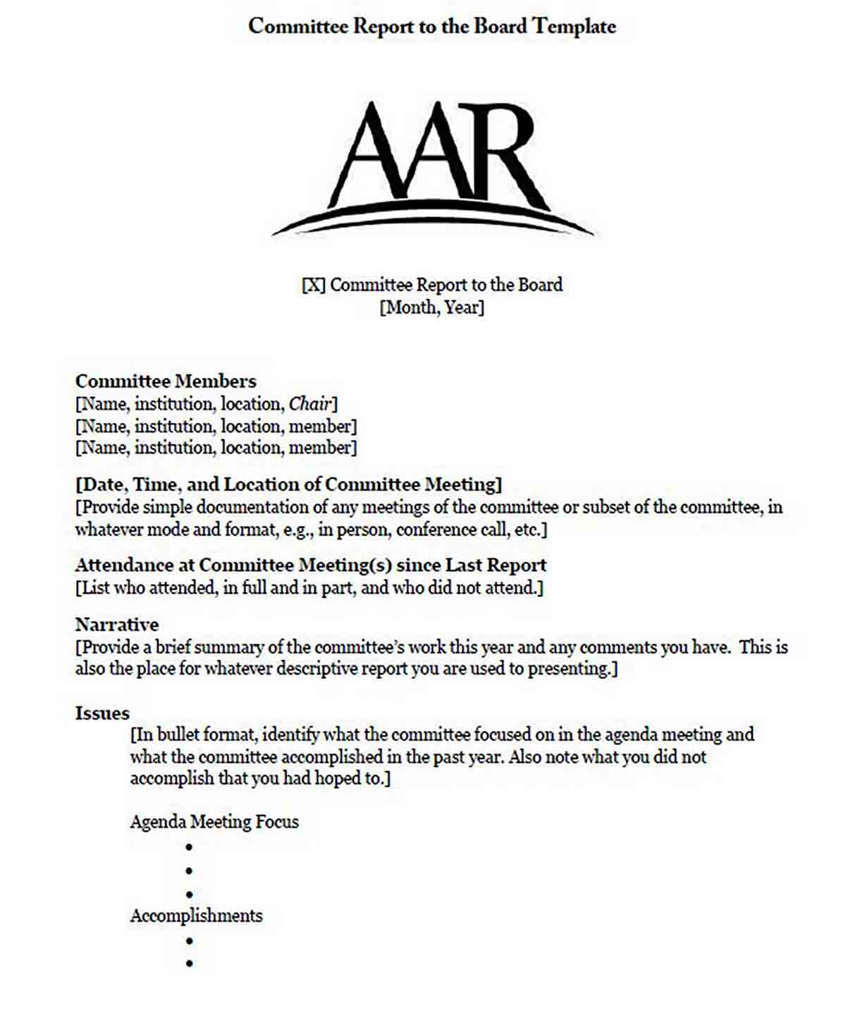 Committee Report to the Board Template sample