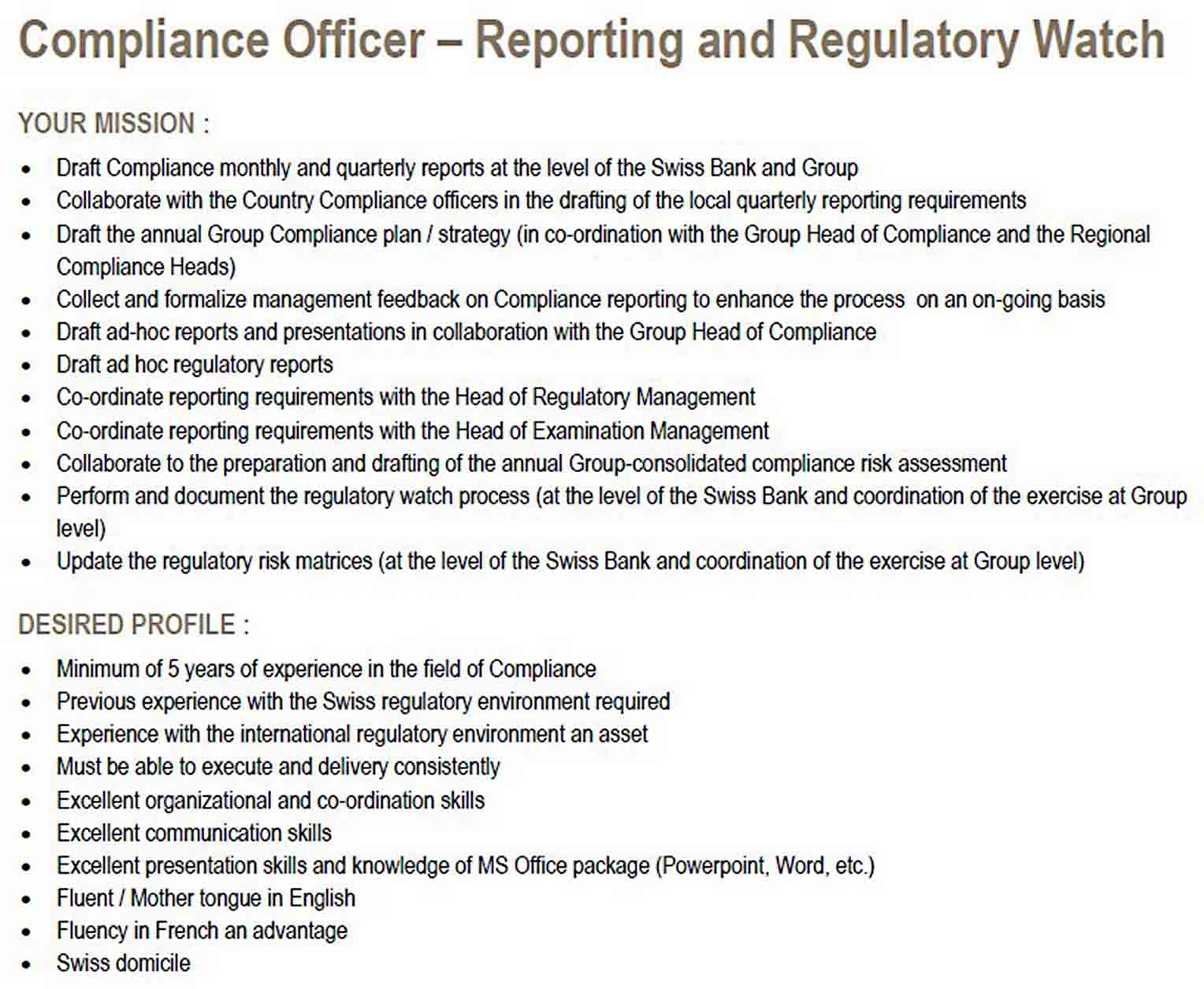 Compliance Officer Report Template sample