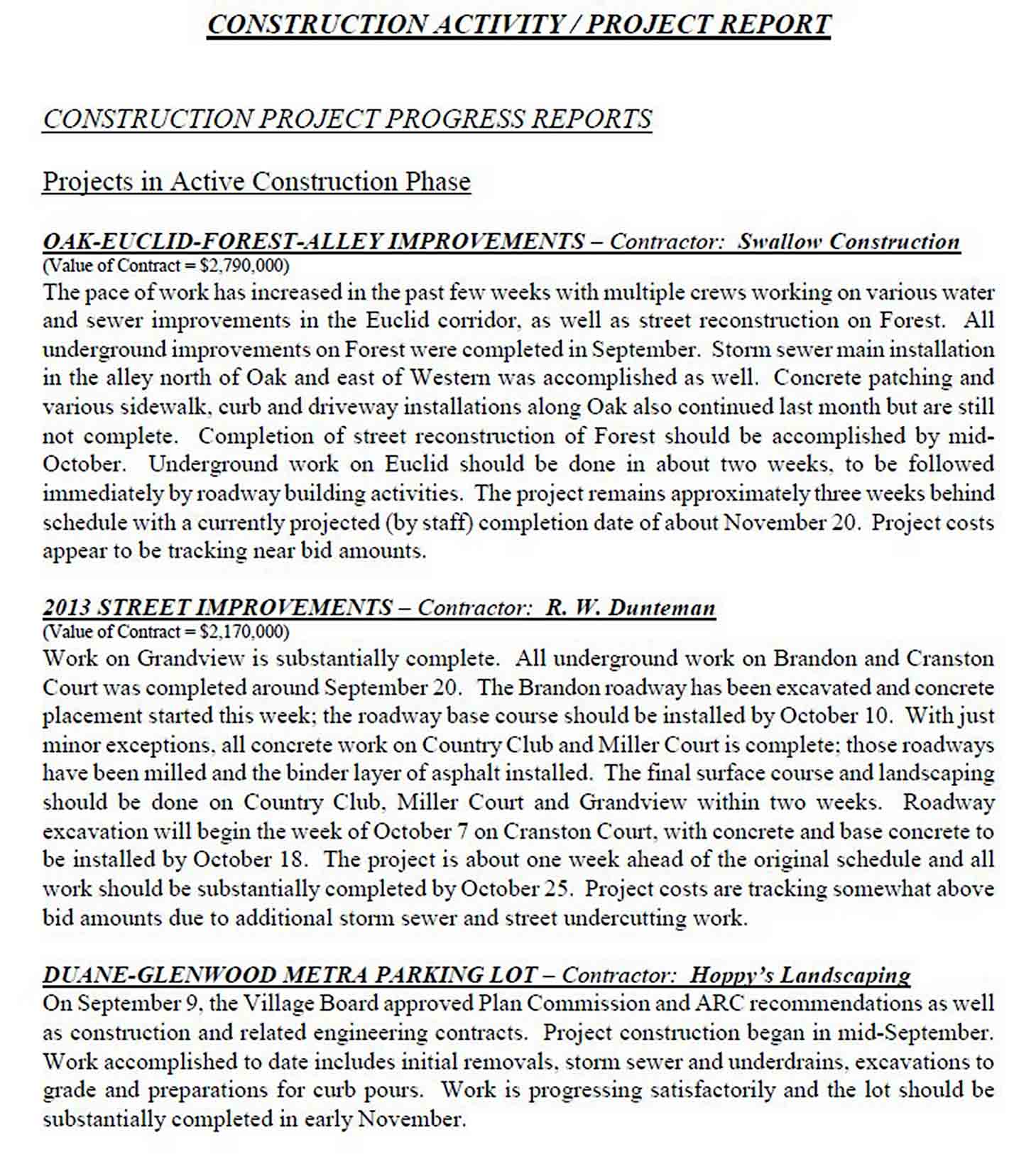 Construction Activity Project Report Template sample
