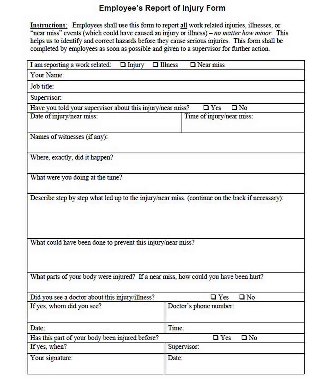 Construction Site Incident Report Template sample