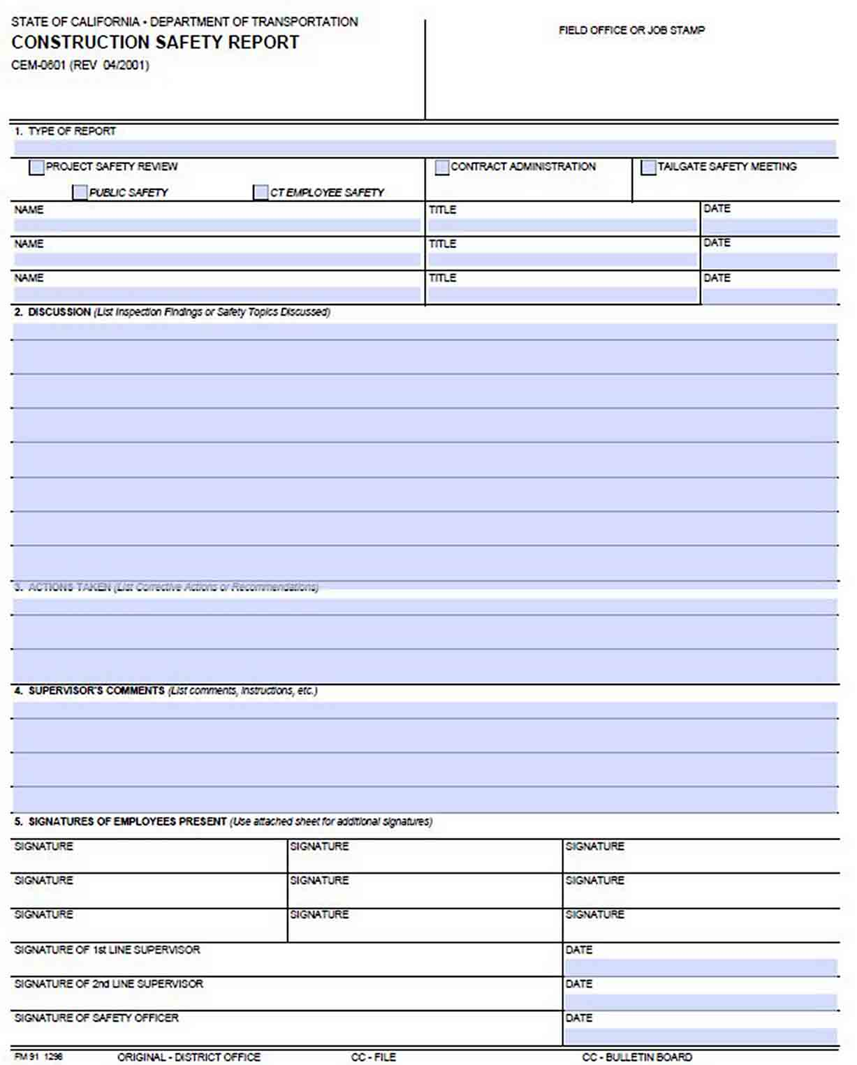 Daily Construction Blank Safety Report Template sample