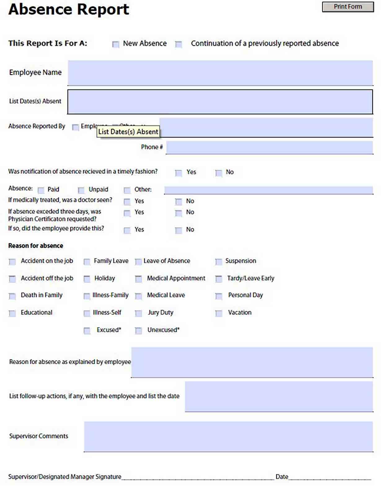 Employee Absence Report sample