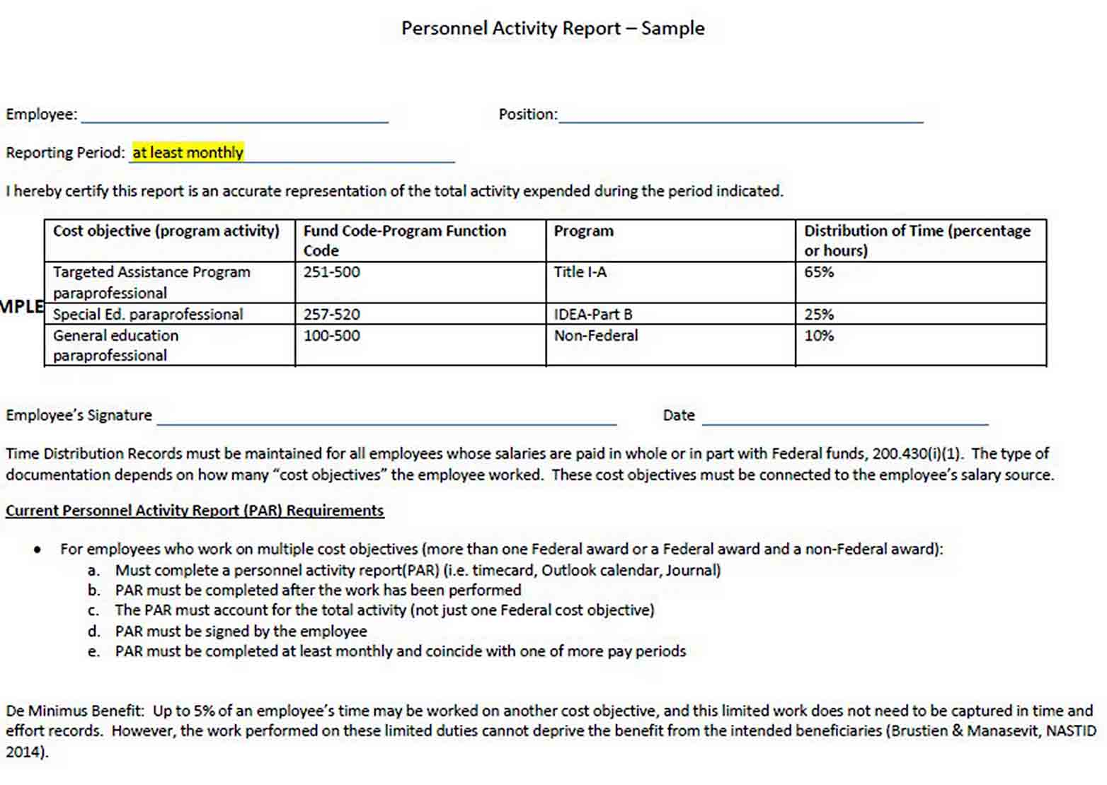 Employee Monthly Activity Report Template sample