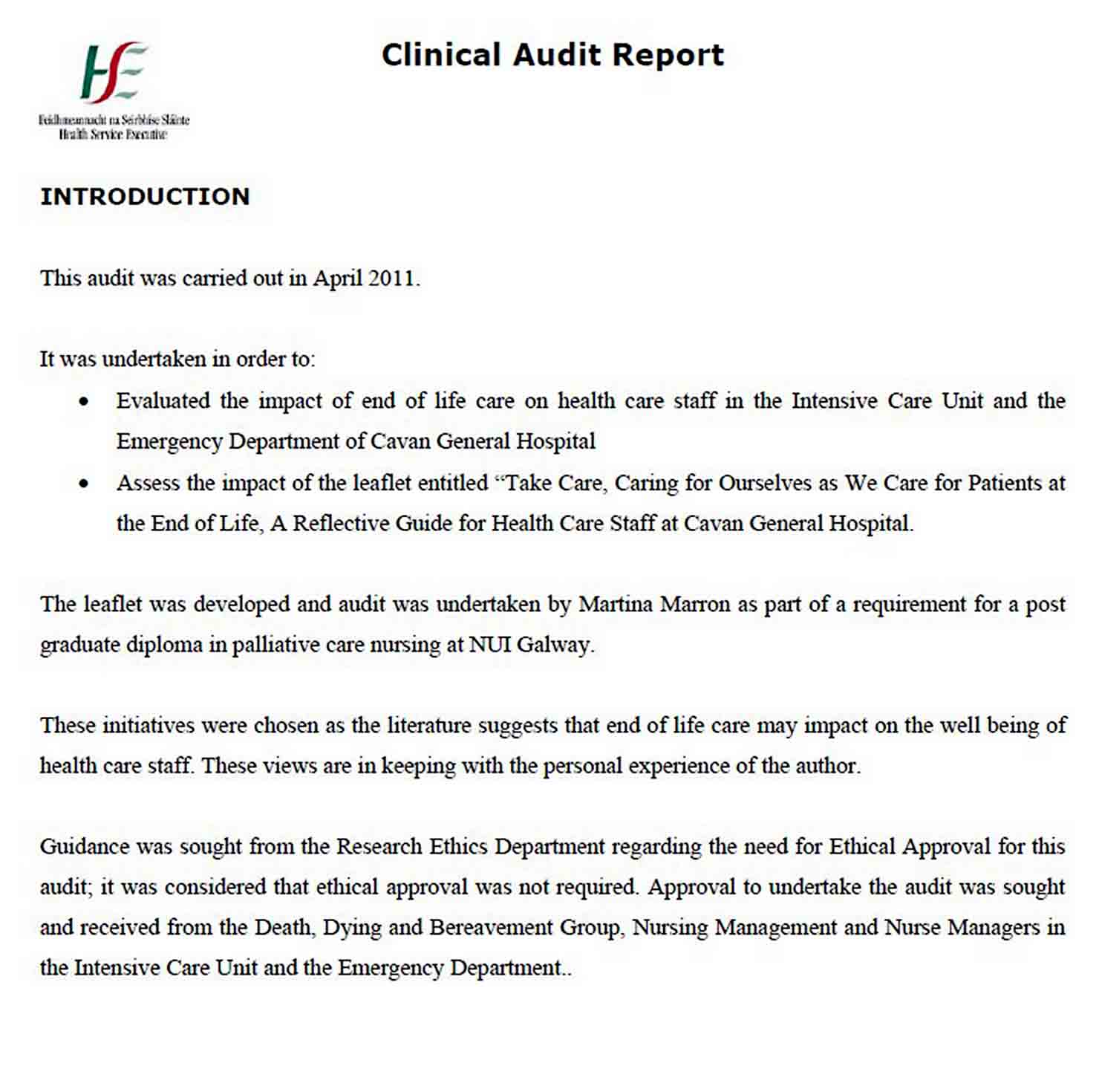 End of Life Clinical Audit Report Template sample