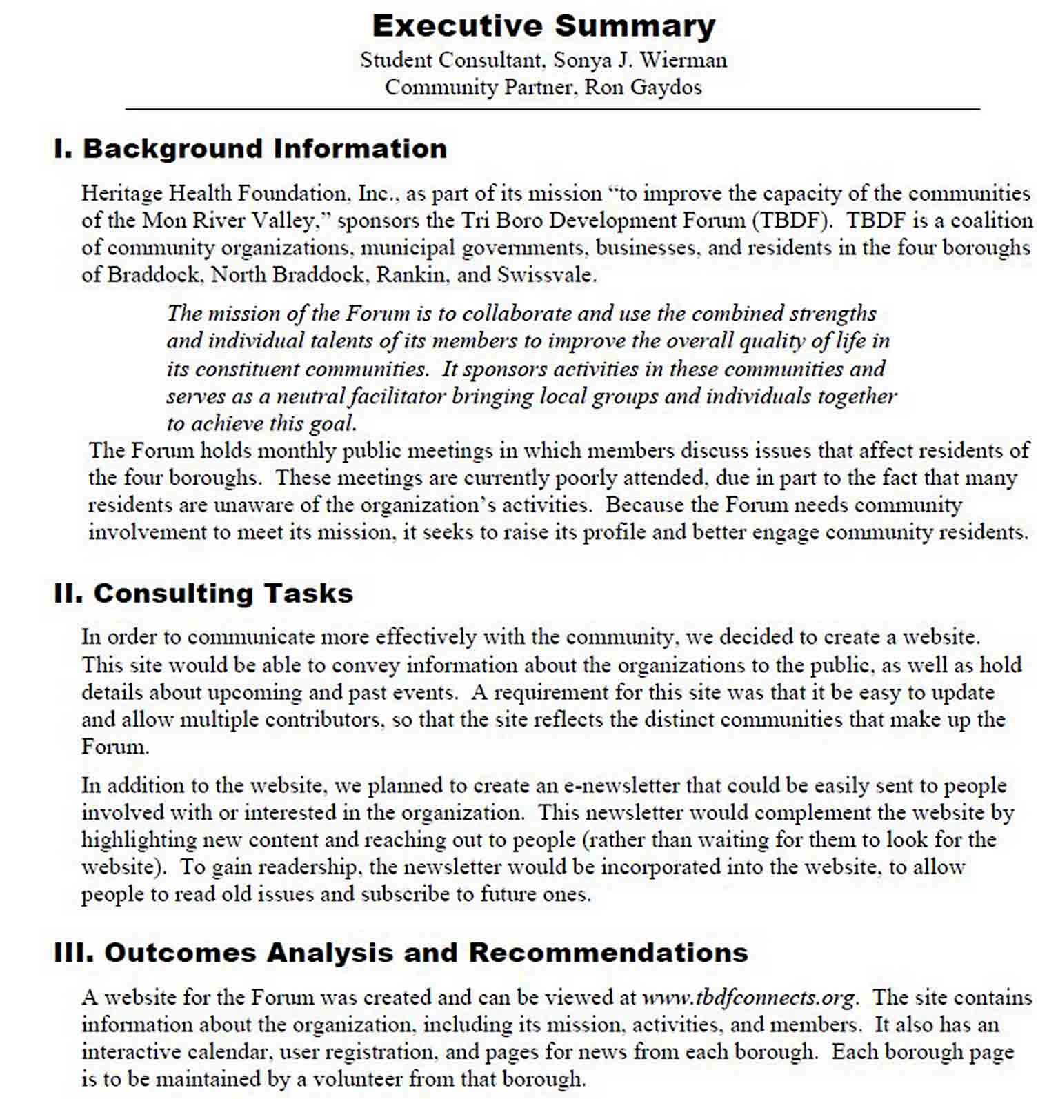 Final Consultant Report Template sample