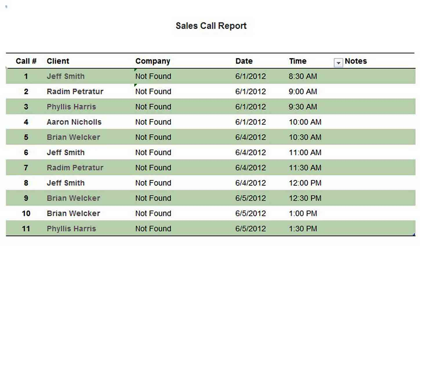 Free Sales Call Report Template in Excel sample