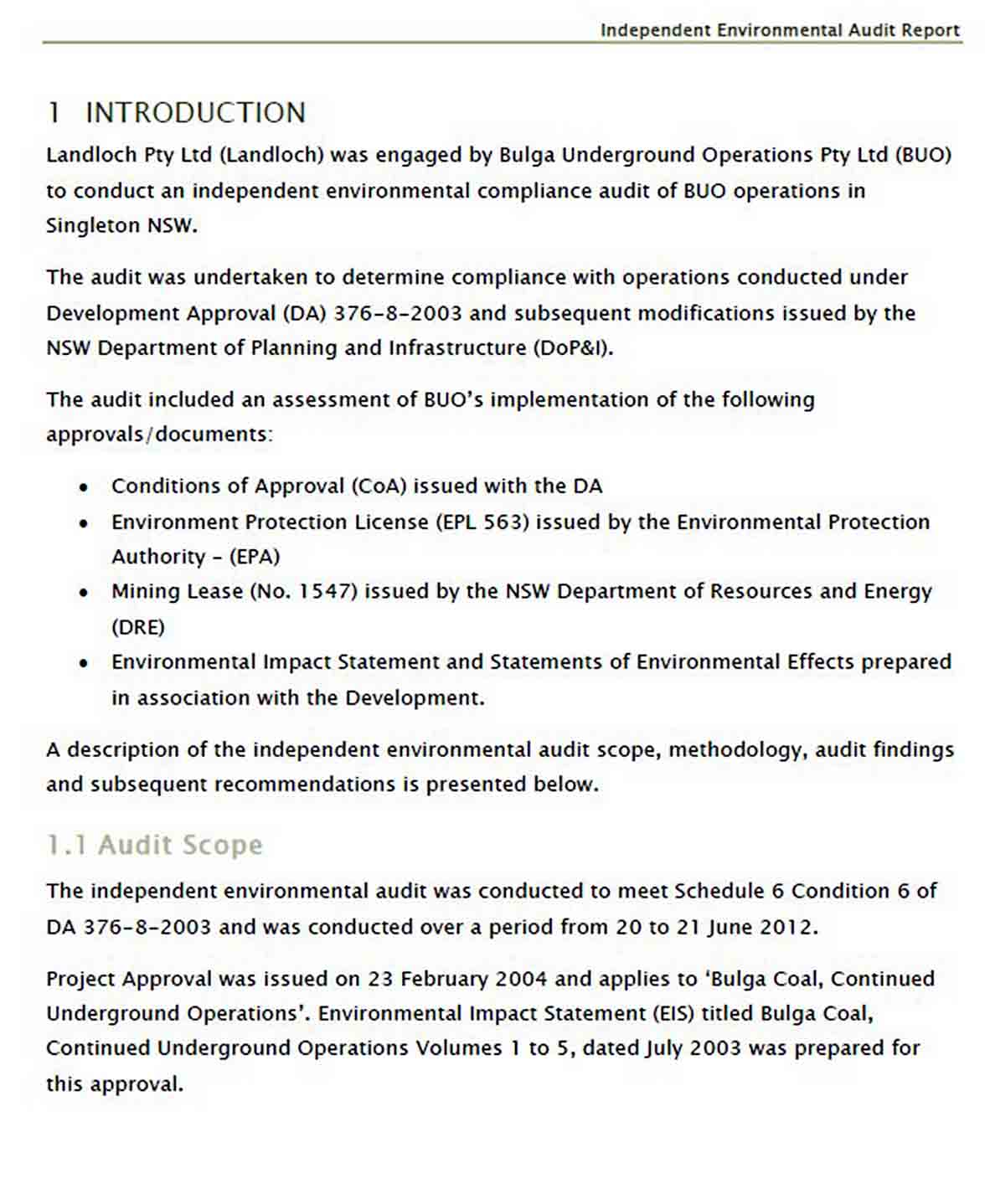 Independent Environmental Audit Report sample