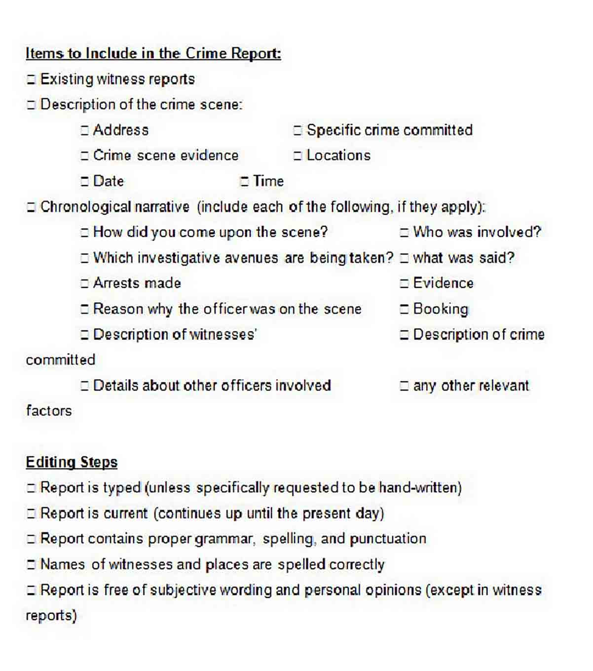 Items to Include in a Crime Report Template 2 sample