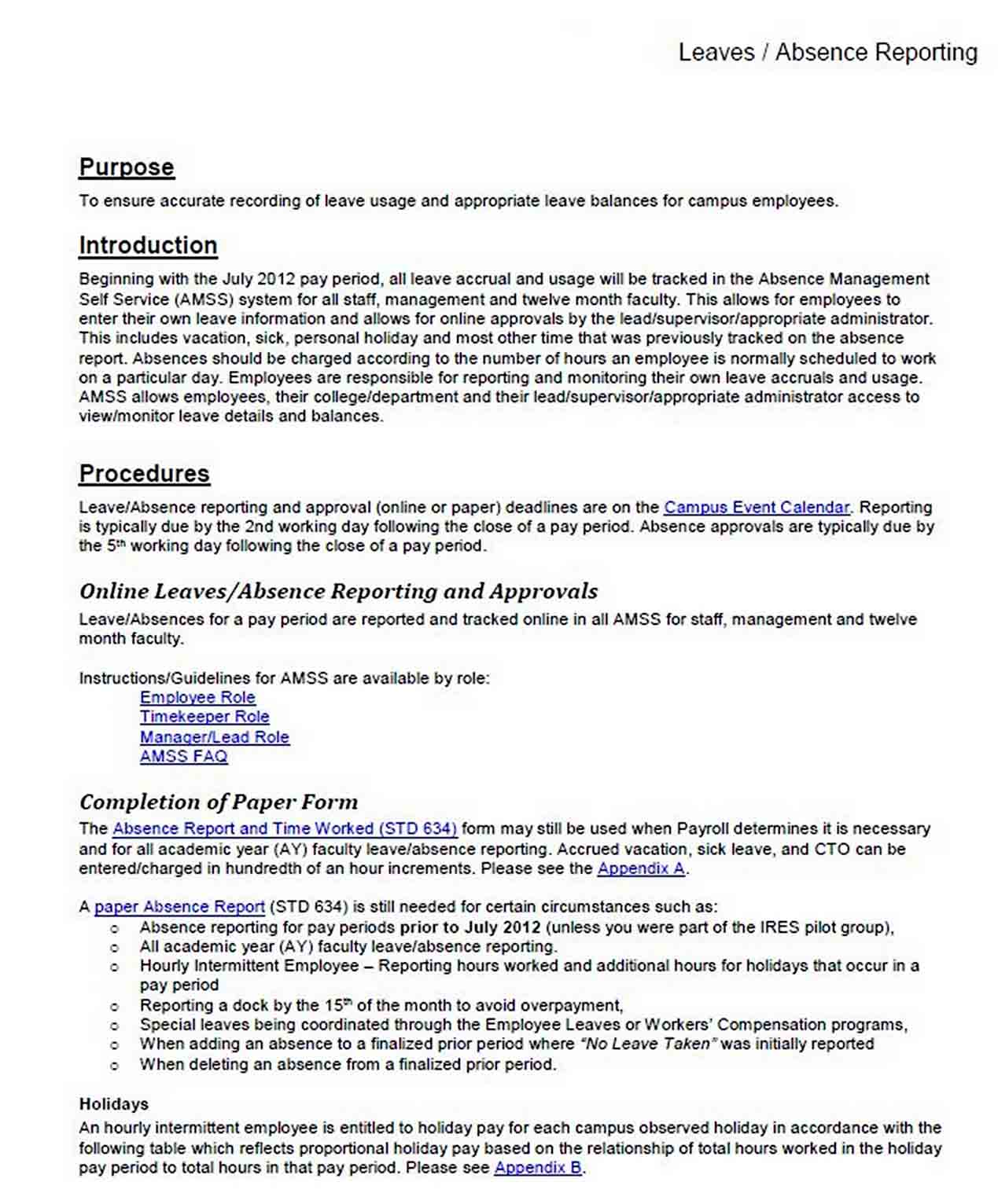 Leaves Absence Report sample