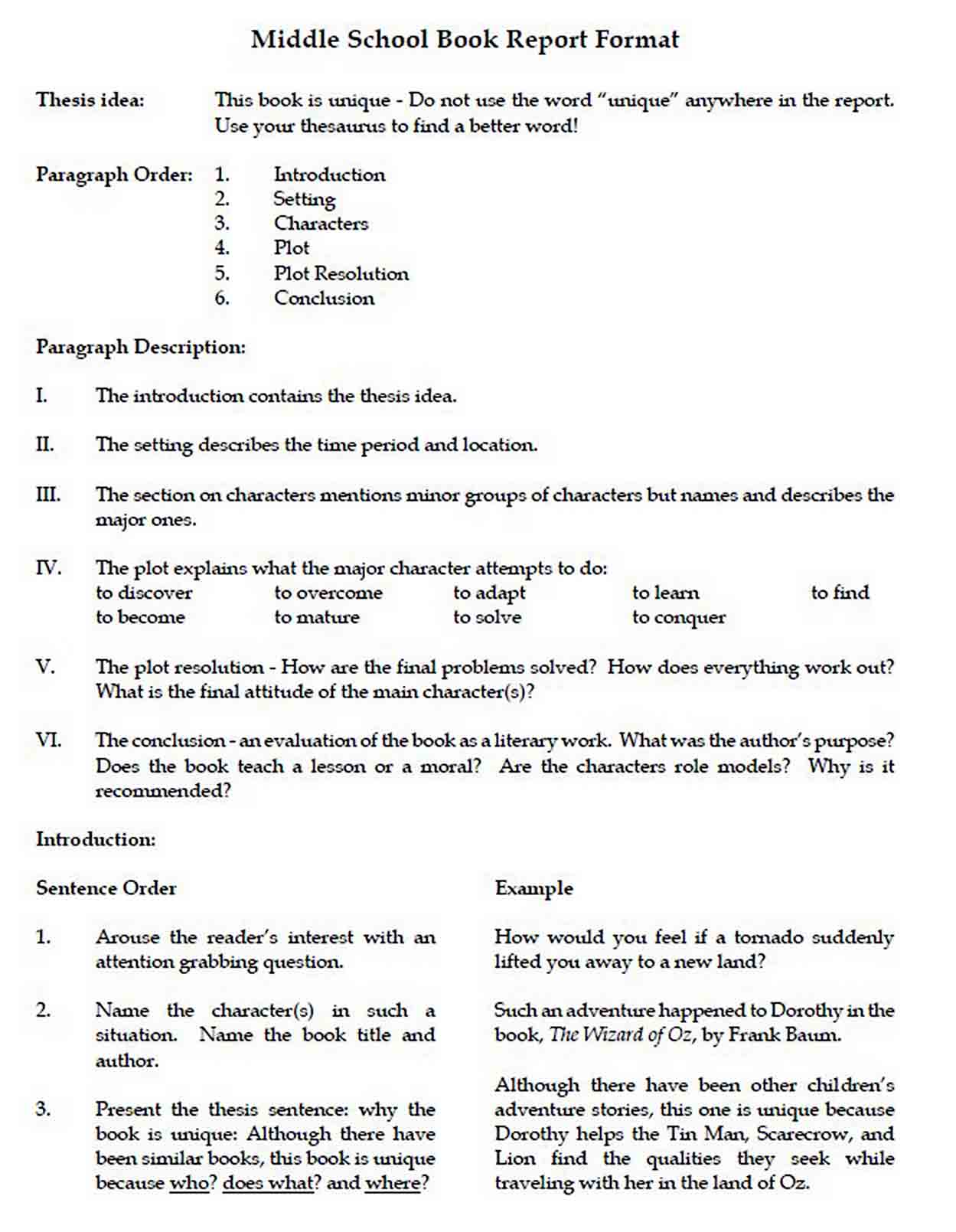 Middle School Book Report Format sample