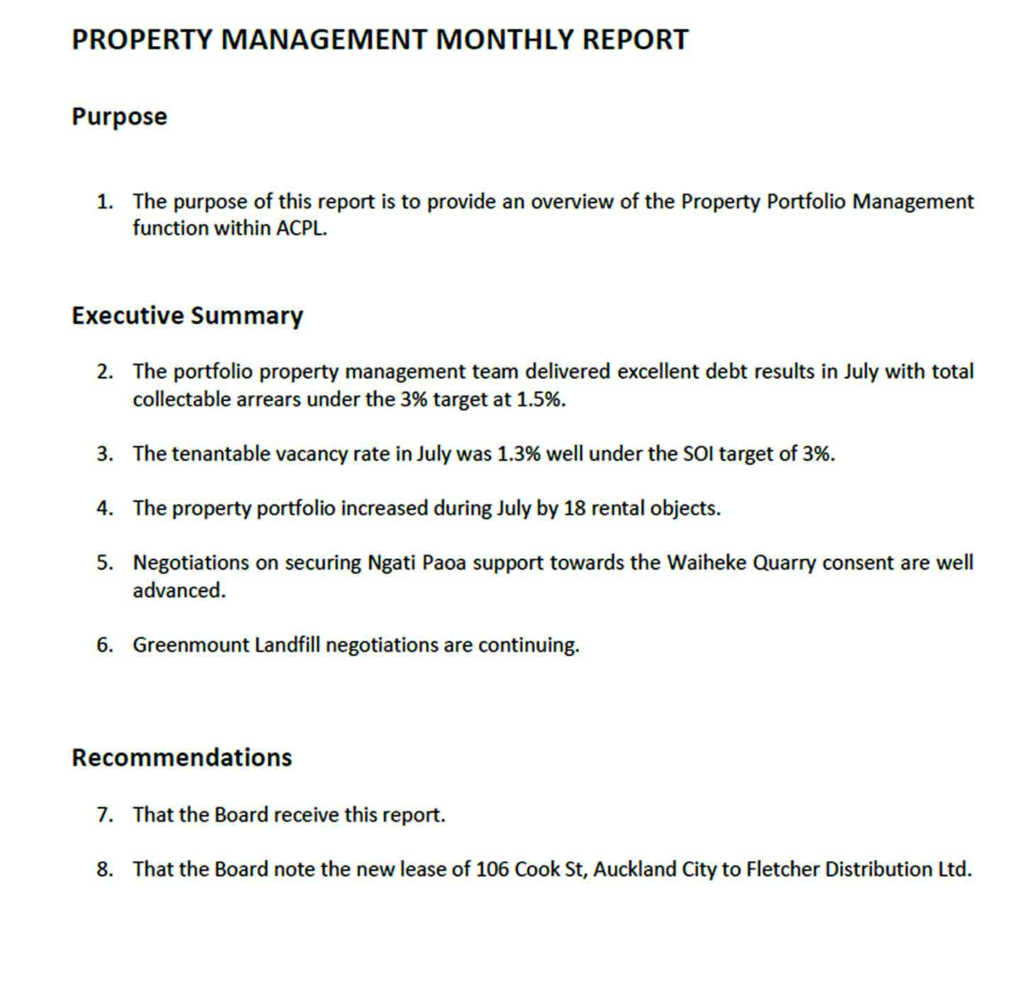 Monthly Property Management Report sample