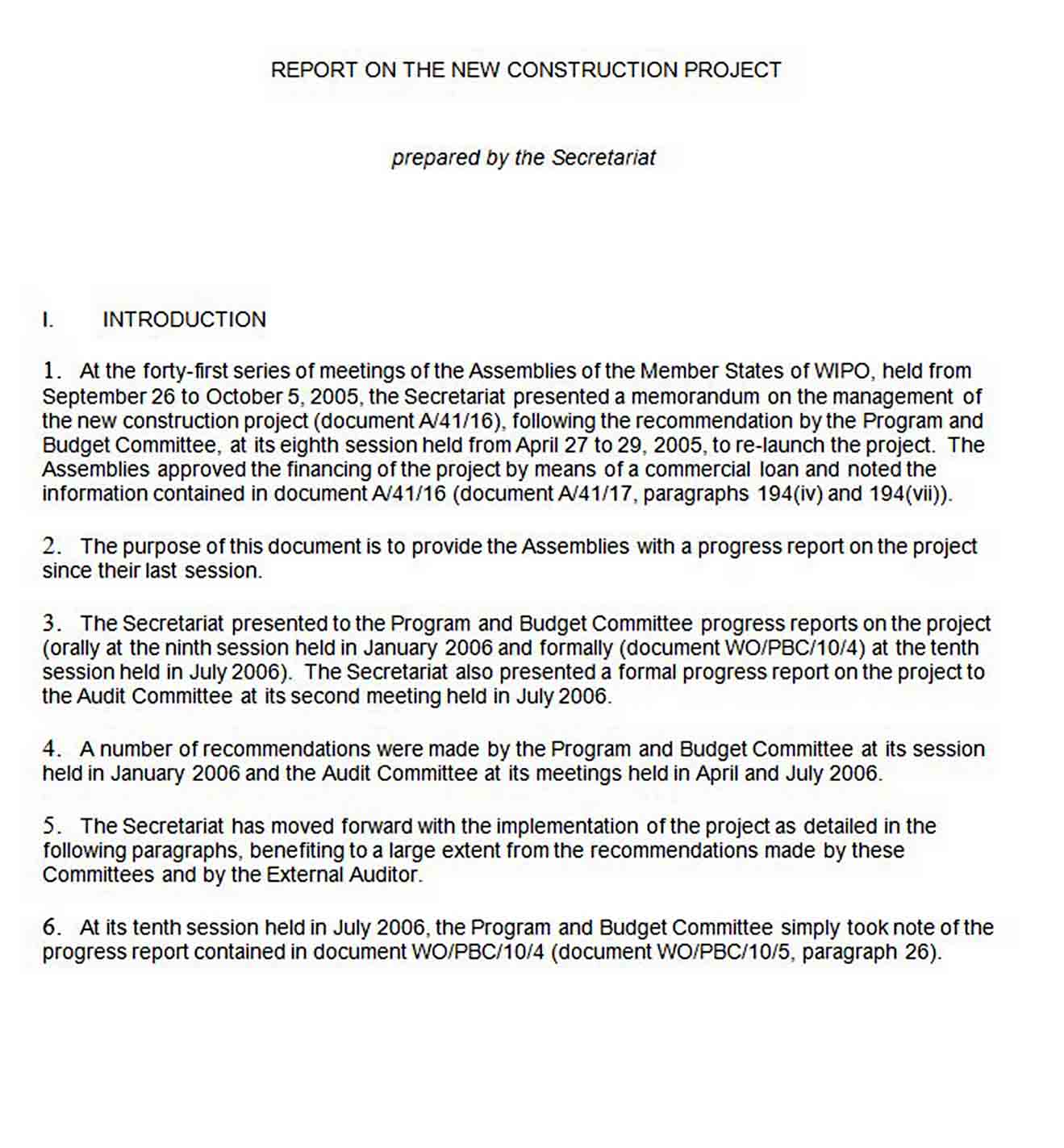 New Construction Project Report Template sample