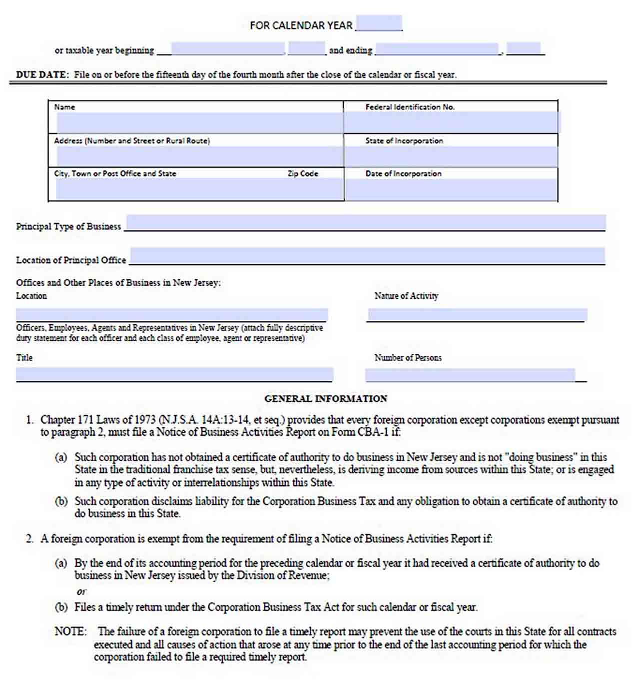 Notice of Business Activity Report Template sample
