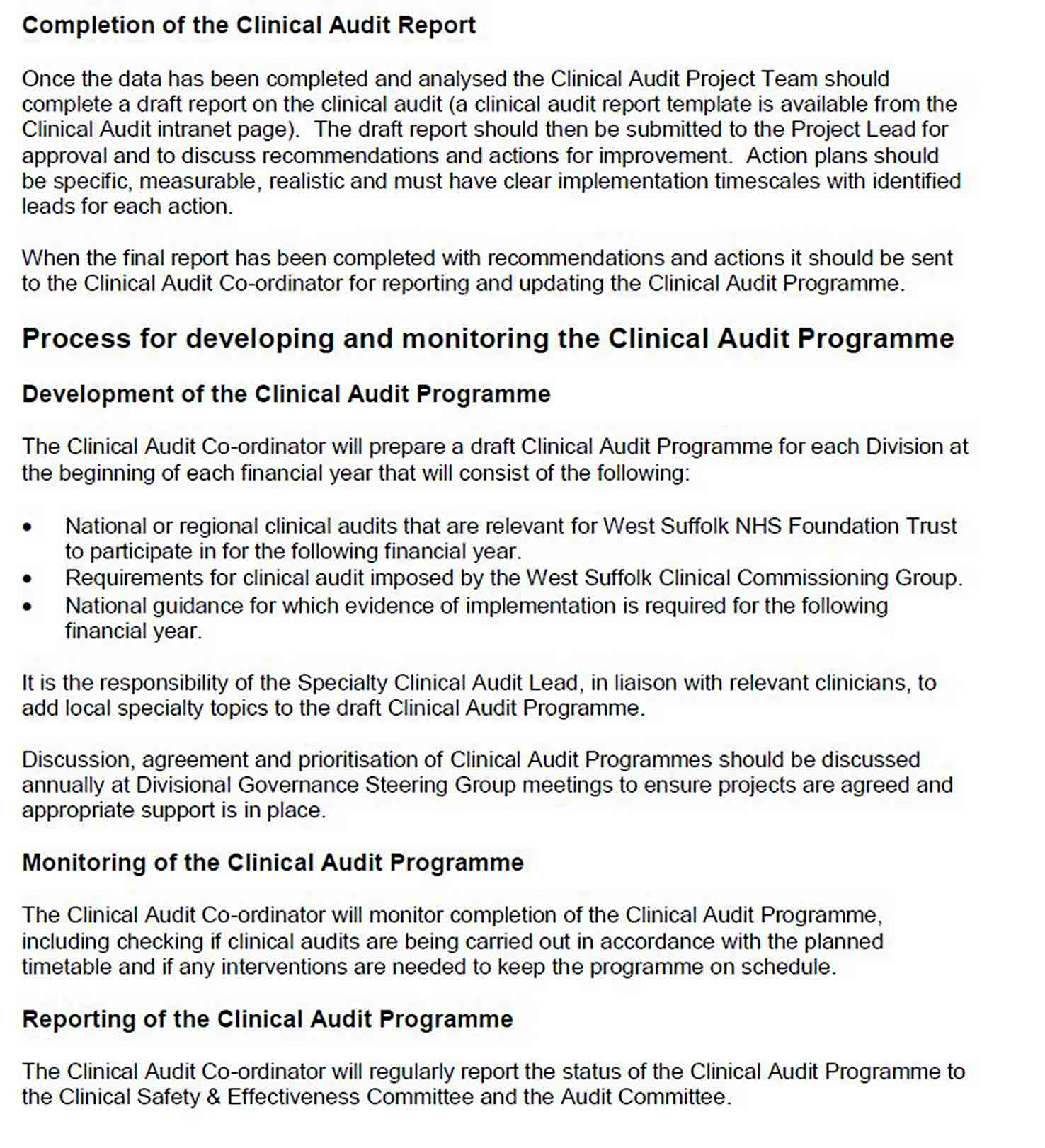 Orthotic Department Clinical Audit Report Template sample