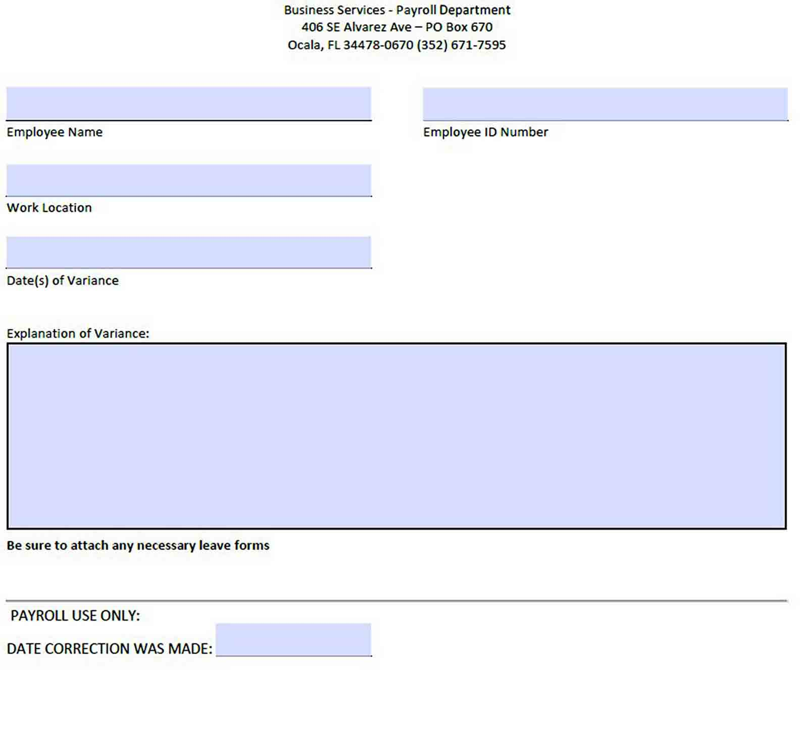 Payroll Exception Report sample