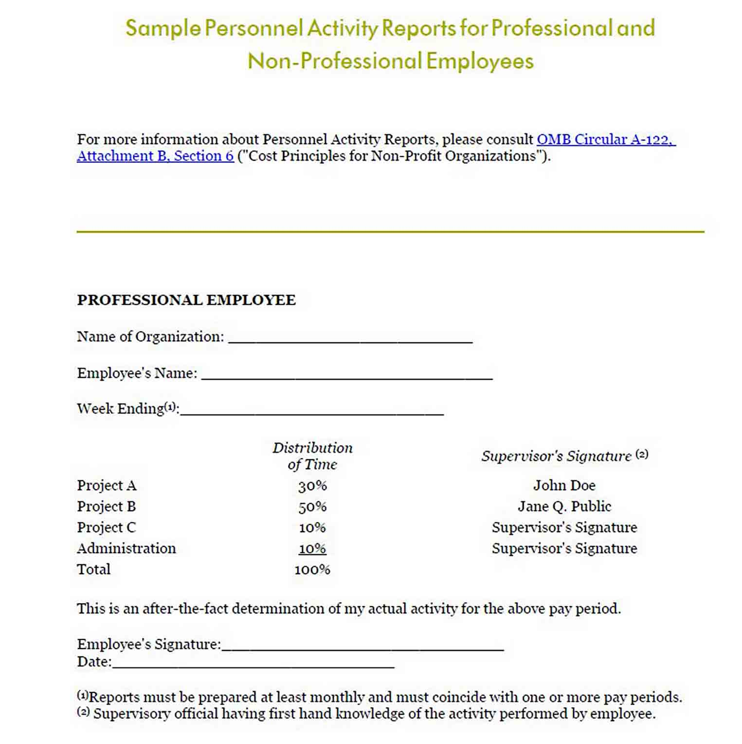 Personnel Activity Report sample