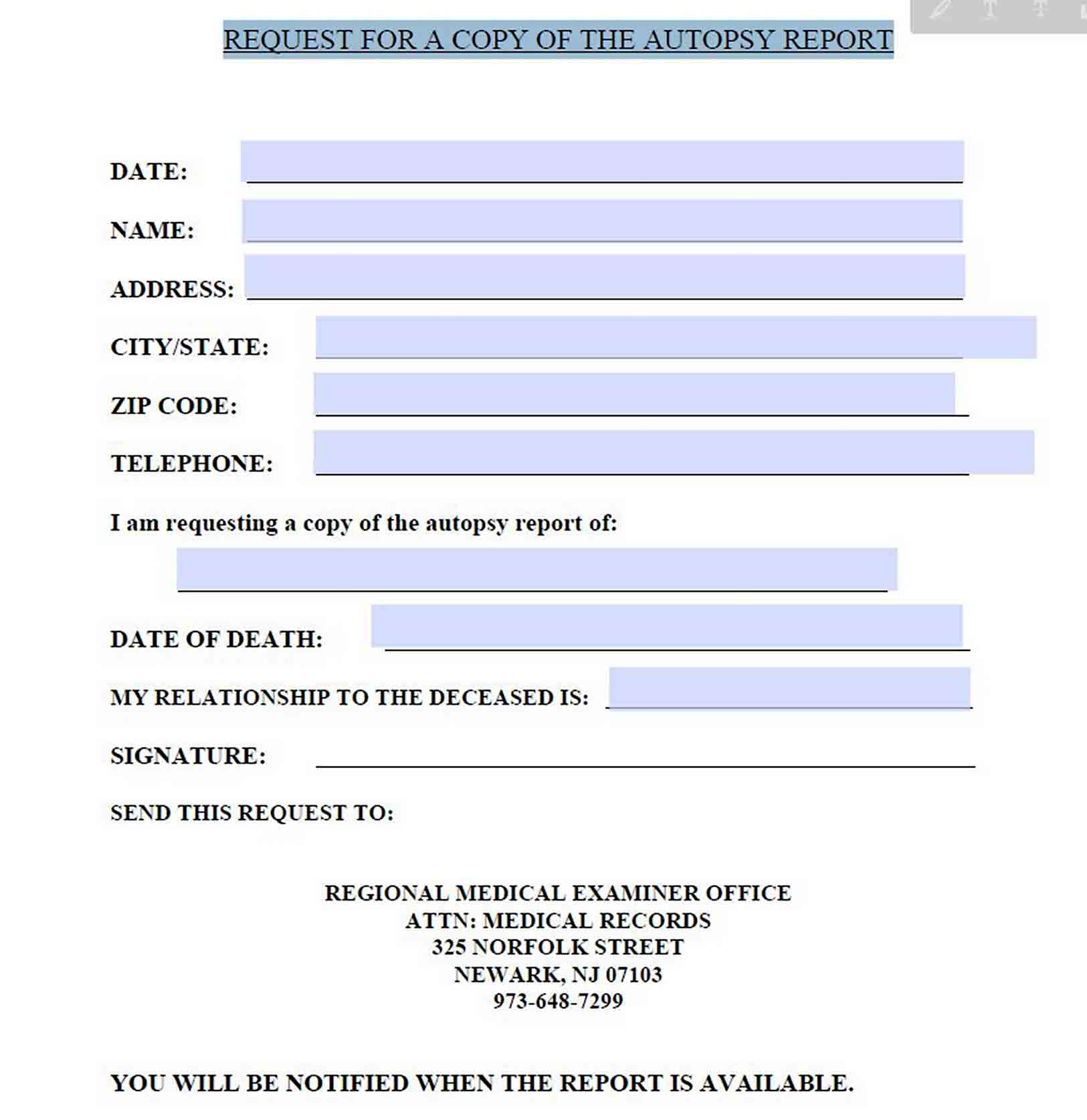 Request for Autopsy Report Template sample
