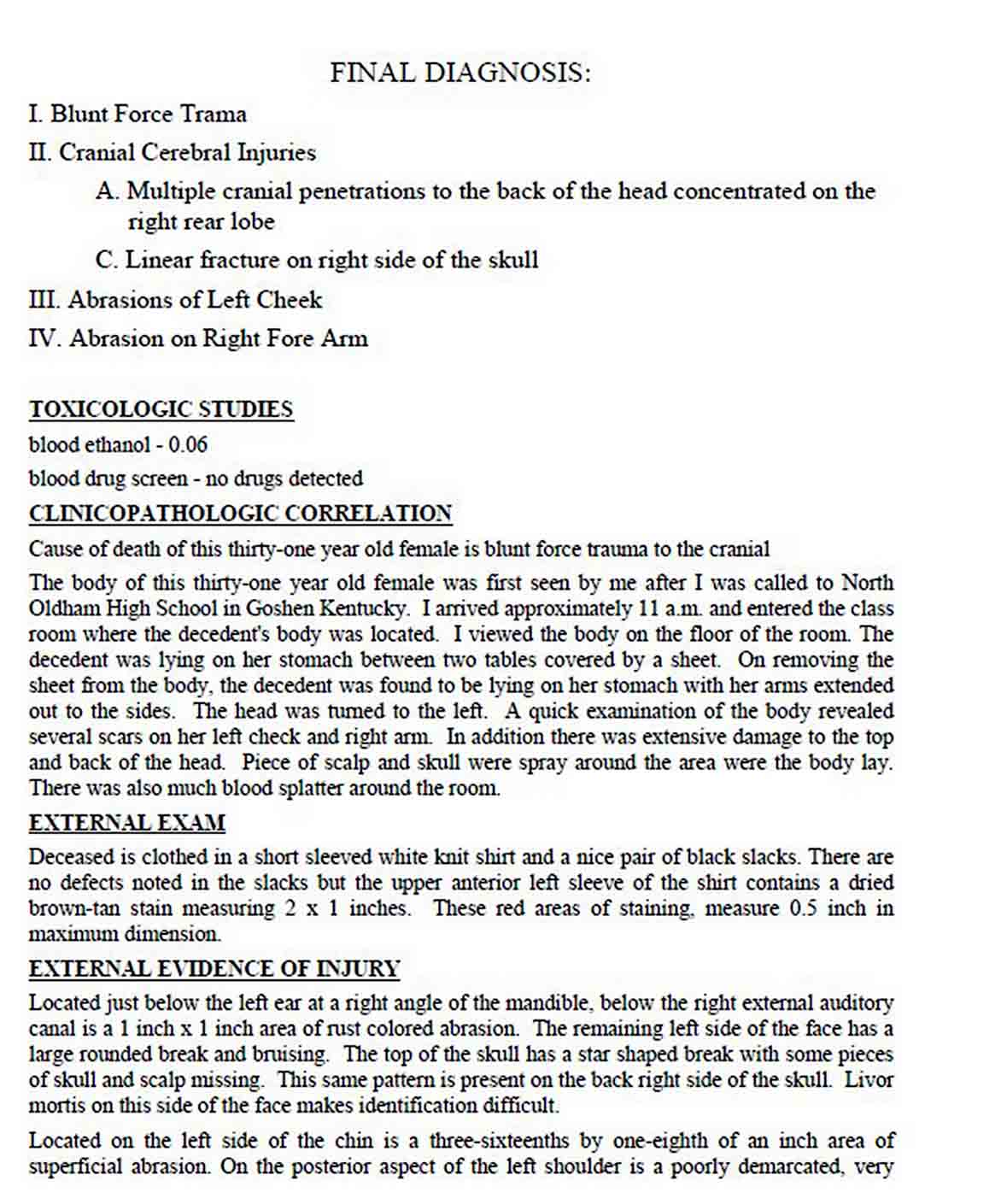Simple Autopsy Report Template sample