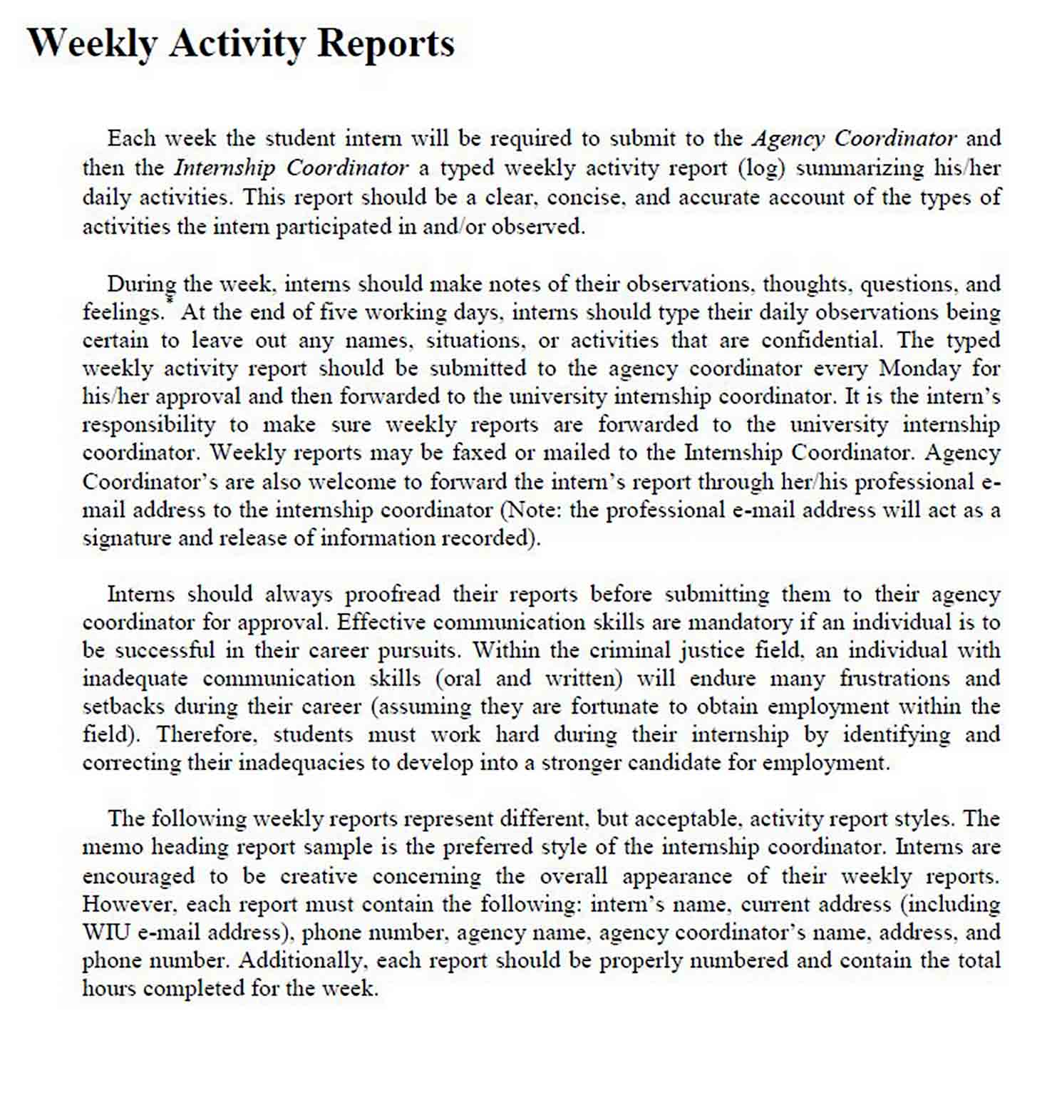 Weekly Activity Report in PDF sample
