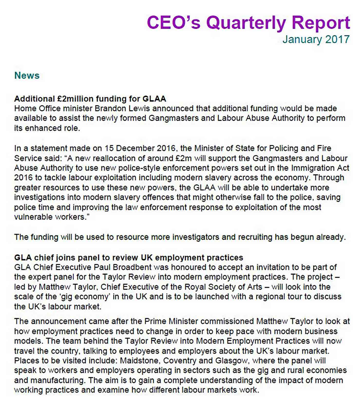 ceo report january 2017 sample