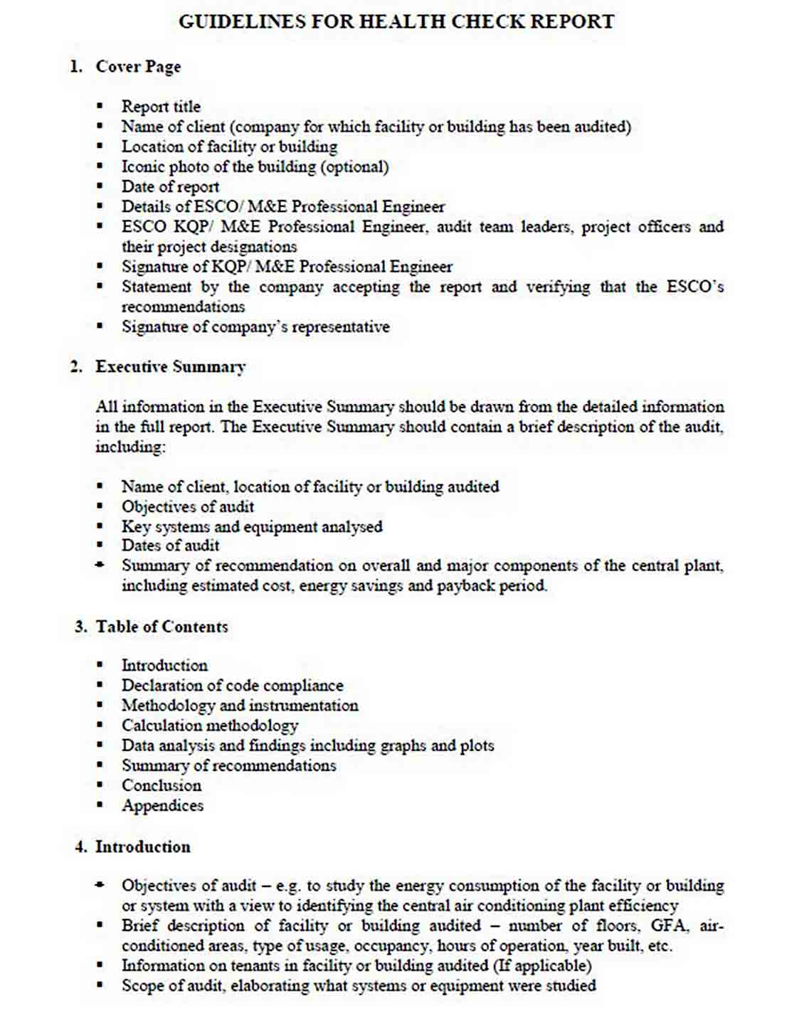 template of energy audit report sample