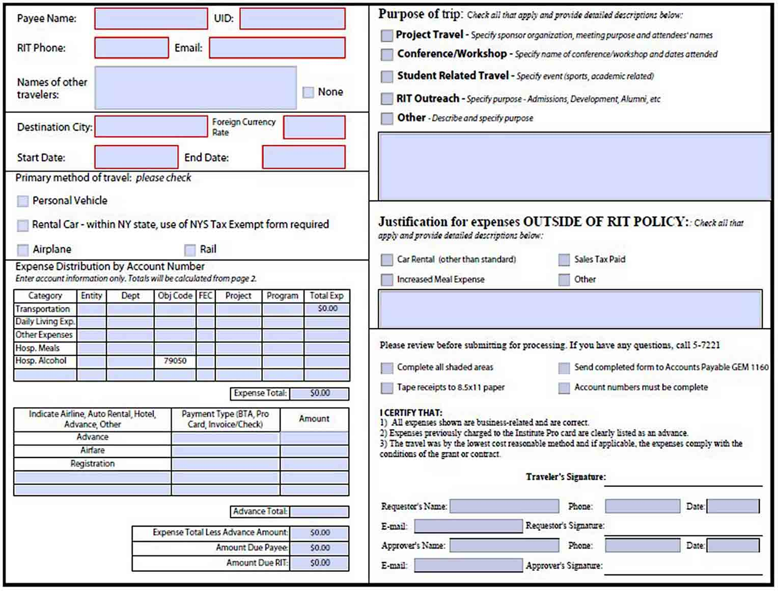 Business Travel Expense Report sample 1
