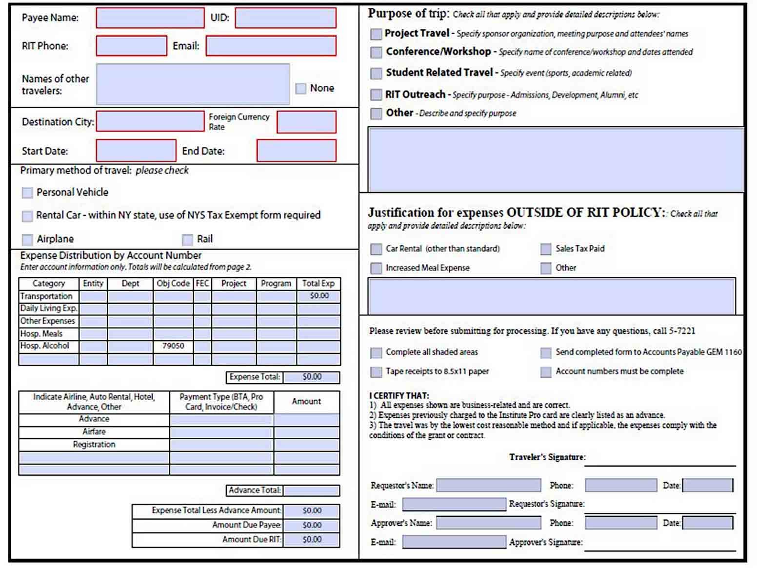 Business Travel Expense Report sample