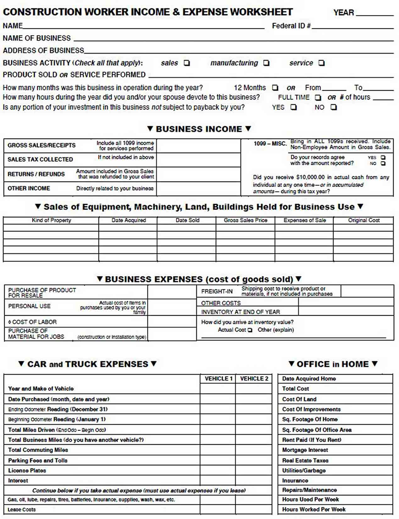 Construction Company Expense Report sample