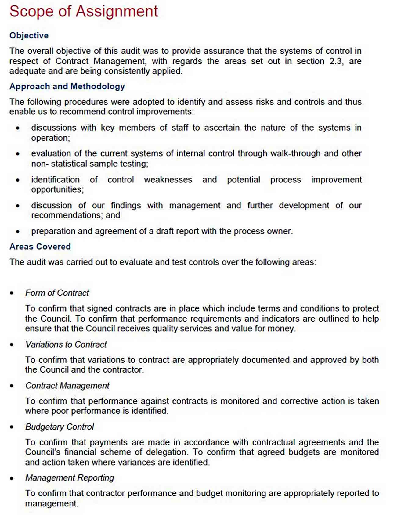 Contract Management Example sample