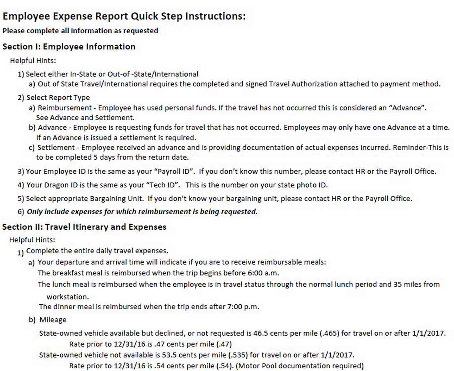 Daily Expense Report Format sample