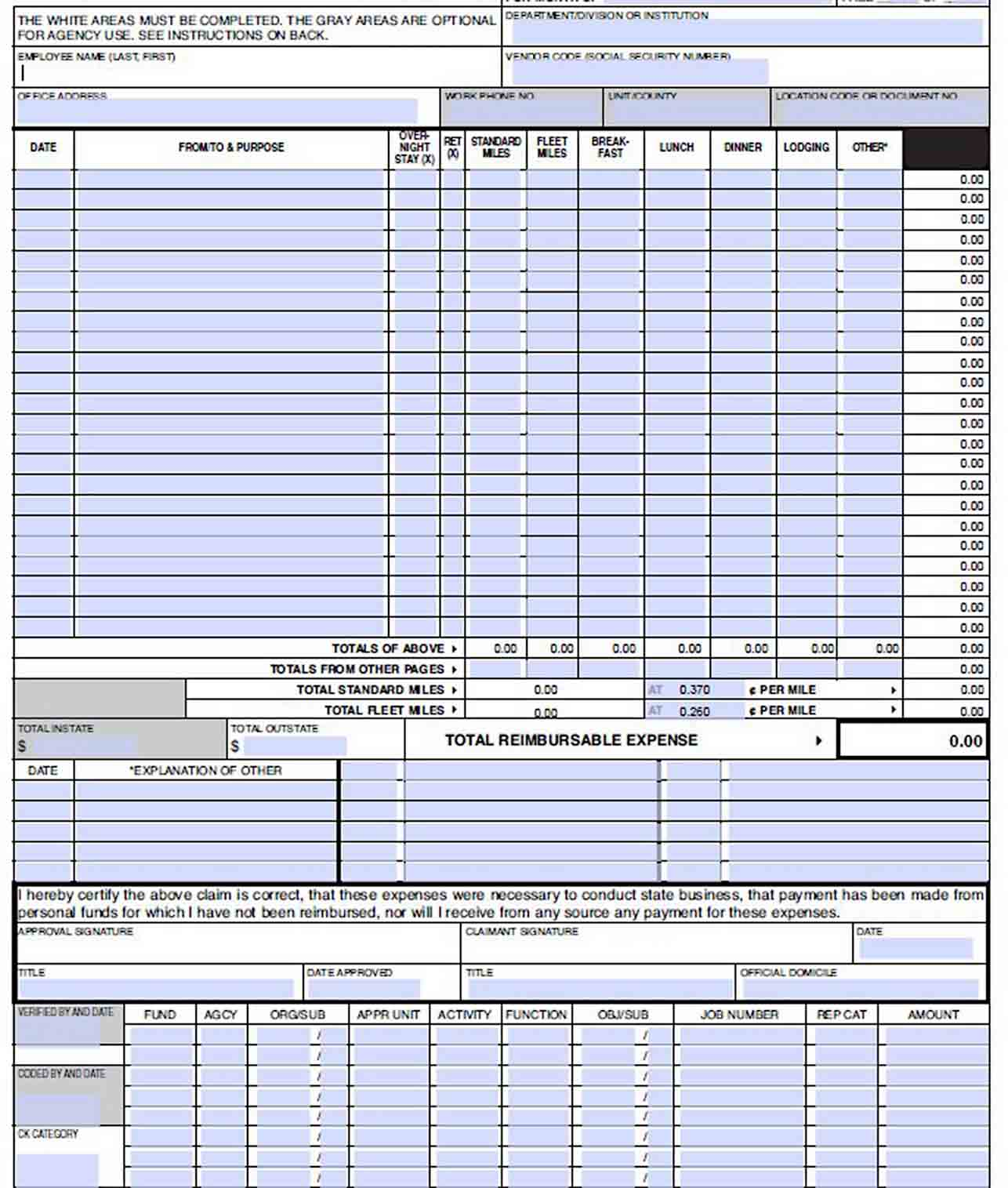Employee Monthly Expense Report sample