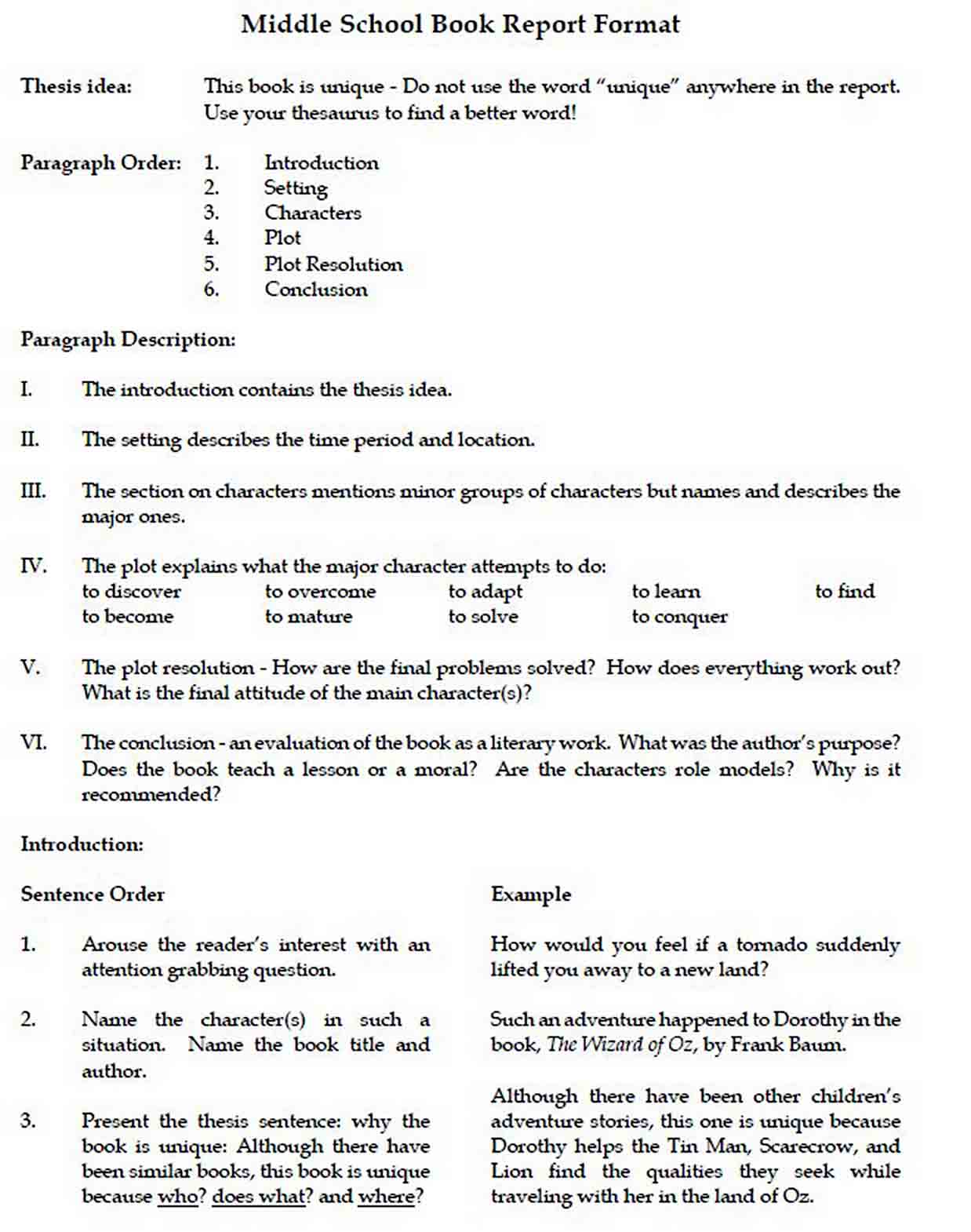 Free Middle School Book Report Format sample