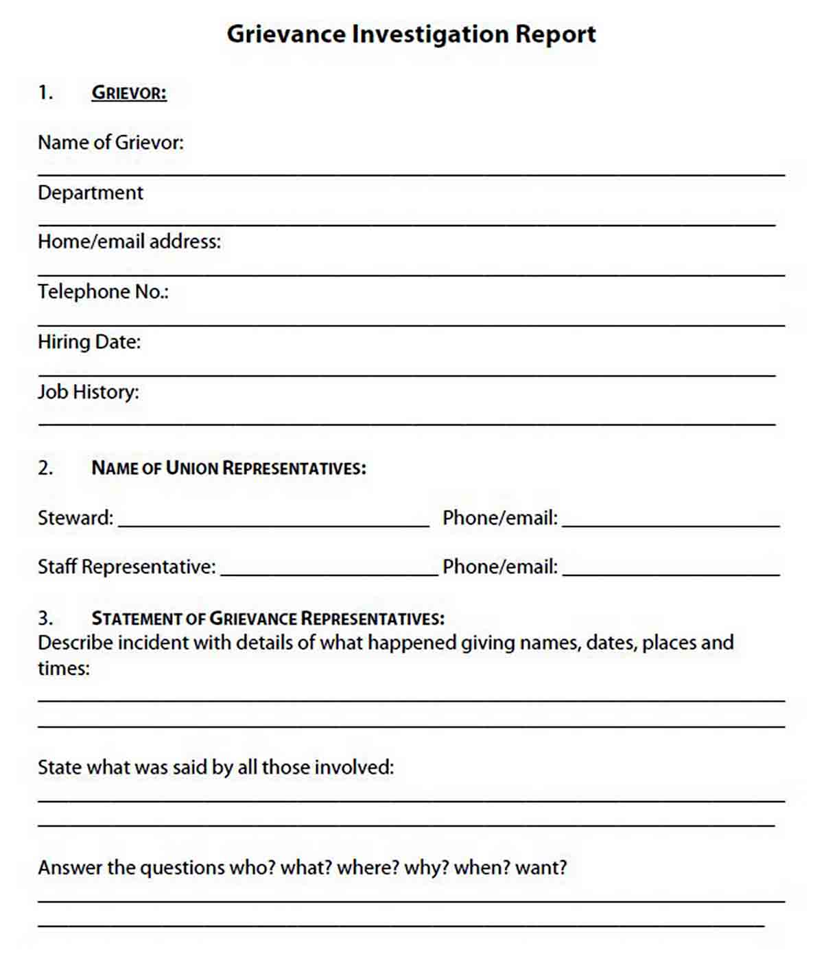 Grievance Investigation Report Template sample 1