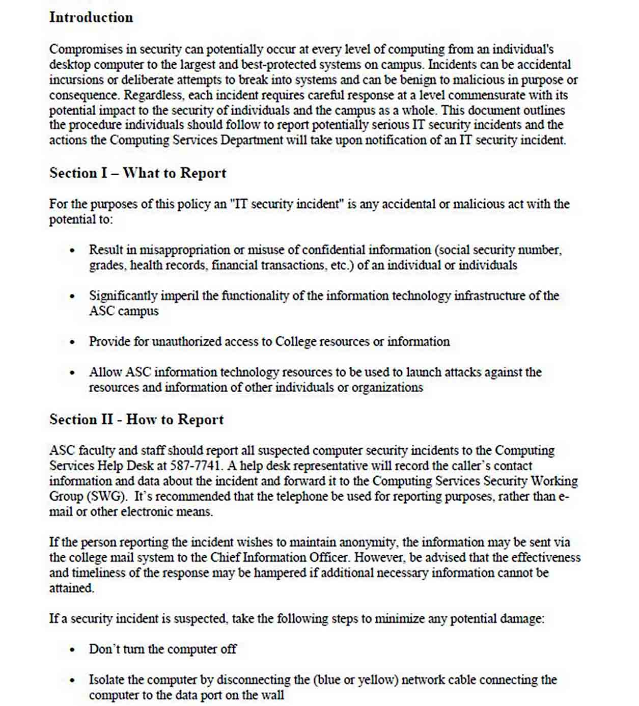 IT Incident Report Template sample