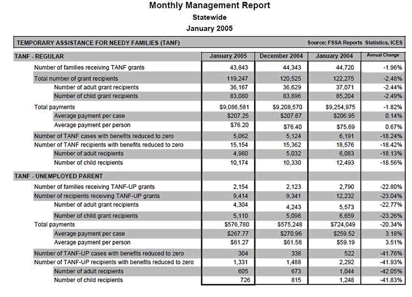 Monthly Report sample