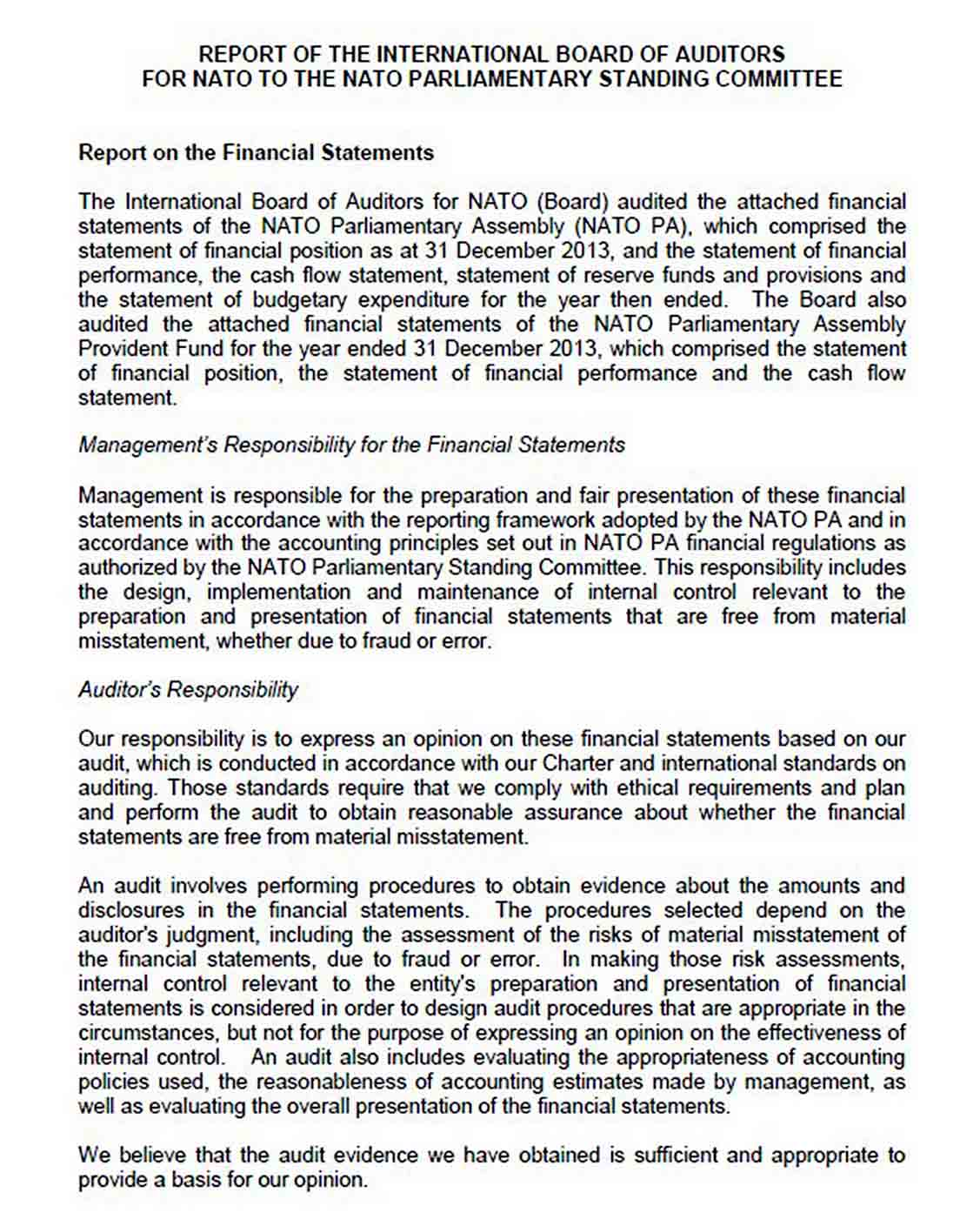 NATO Financial Audit Report Template sample
