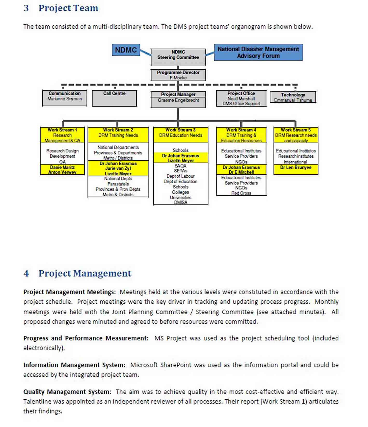 Project Management Report Template sample