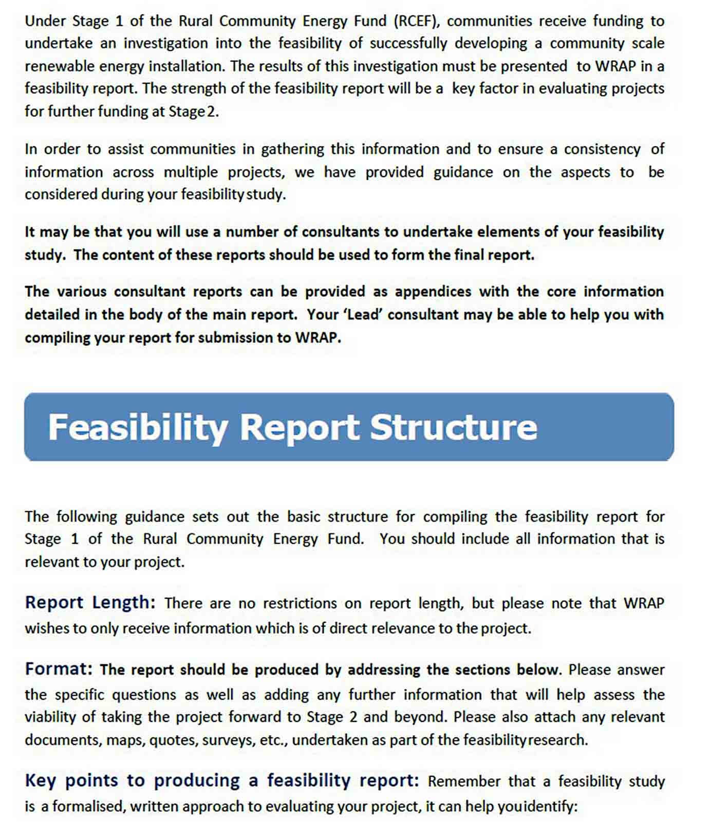 RCEF Stage 1 Feasibility Report Structure Nov 2015 0 1 sample