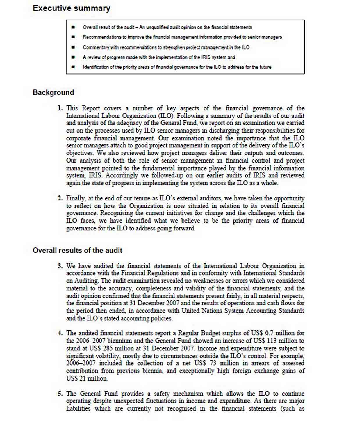 Report of the External Auditor Template sample