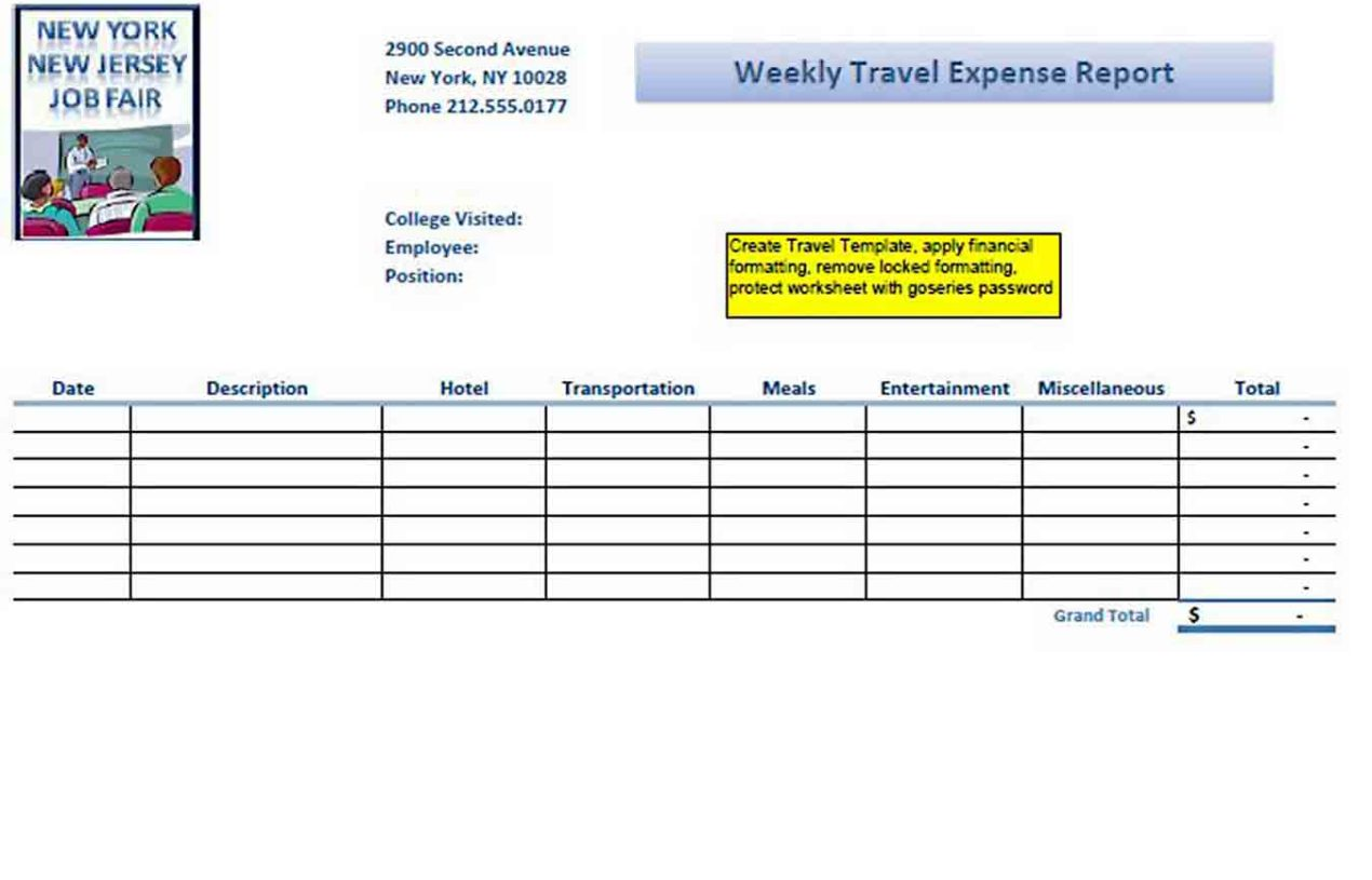 Expense Report Sample Template